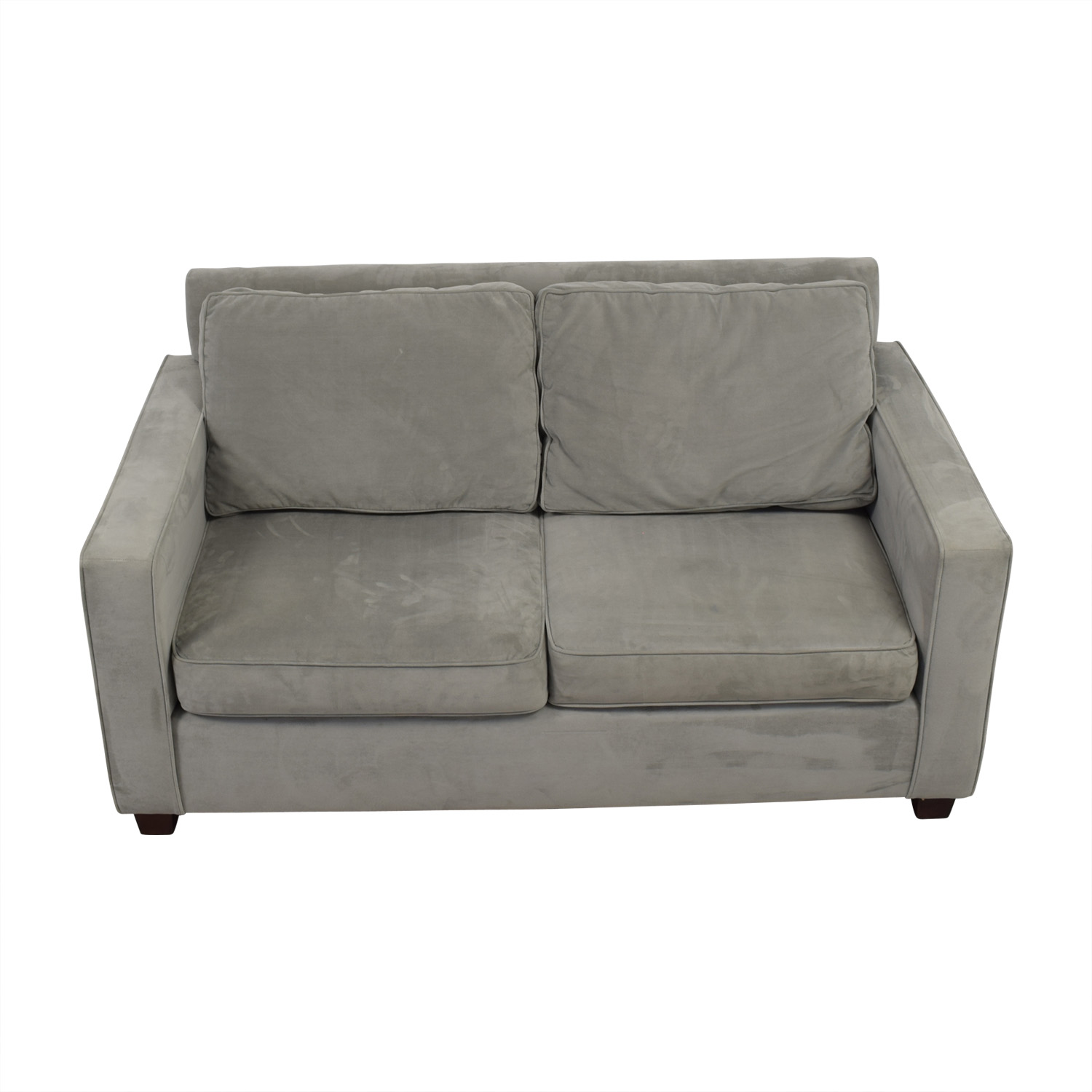 West Elm Henry Velvet Dove Grey Loveseat West Elm