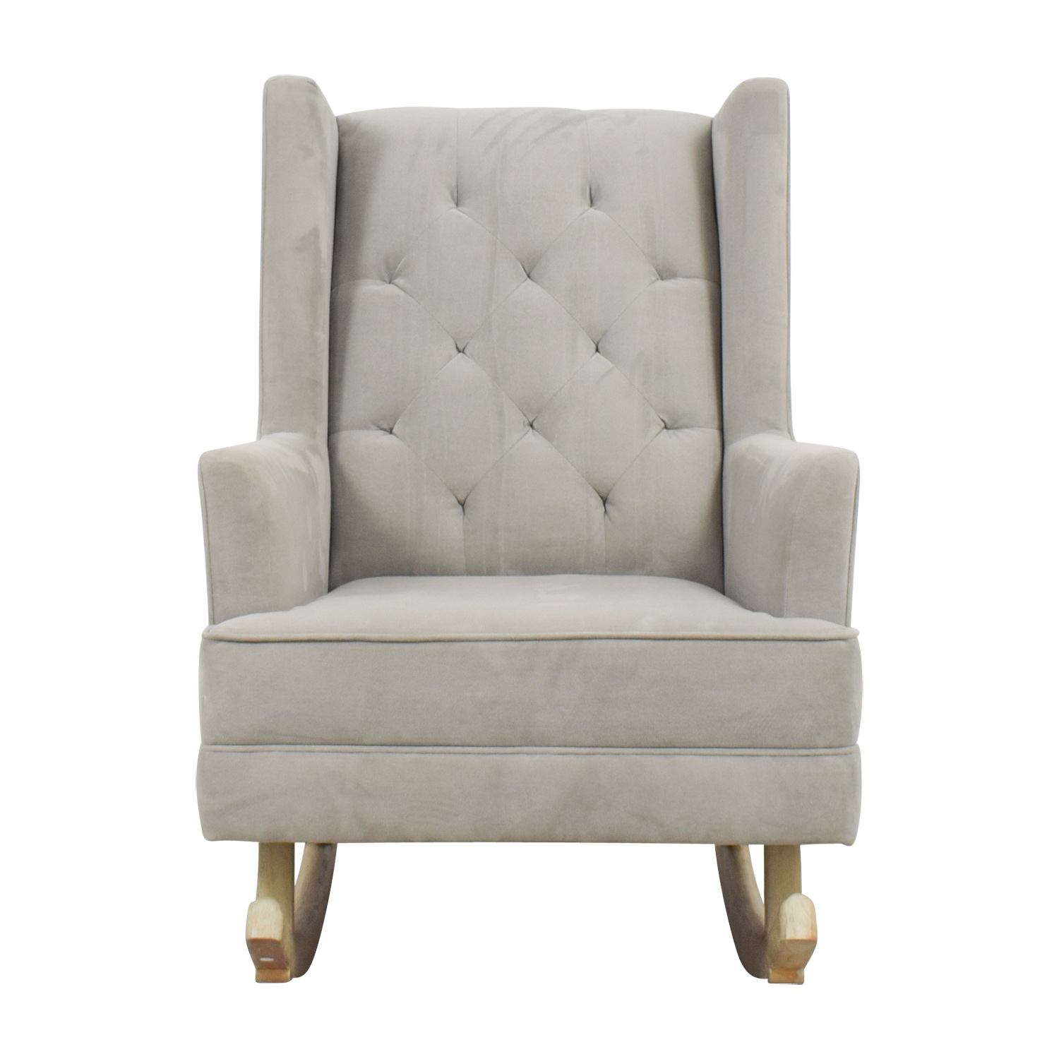 Pottery Barn Grey Tufted Wingback Rocker sale  sc 1 st  Kaiyo & 76% OFF - Pottery Barn Pottery Barn Grey Tufted Wingback Rocker / Chairs
