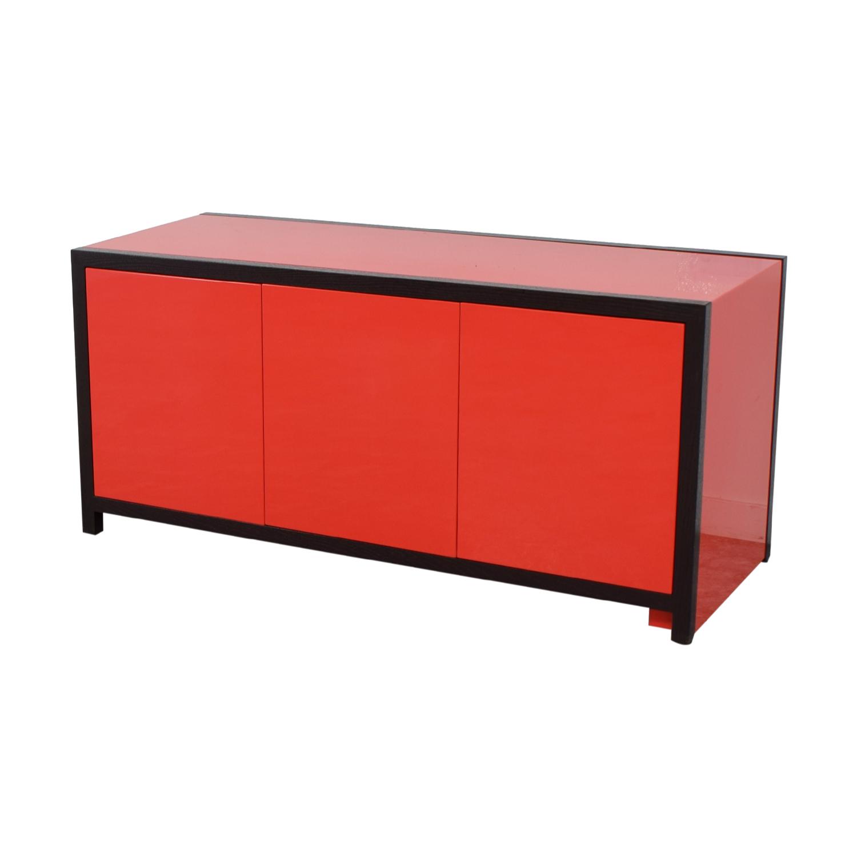 Dune Dune Modern Le Mans Black and Red Cabinet to Desk Home Office Desks