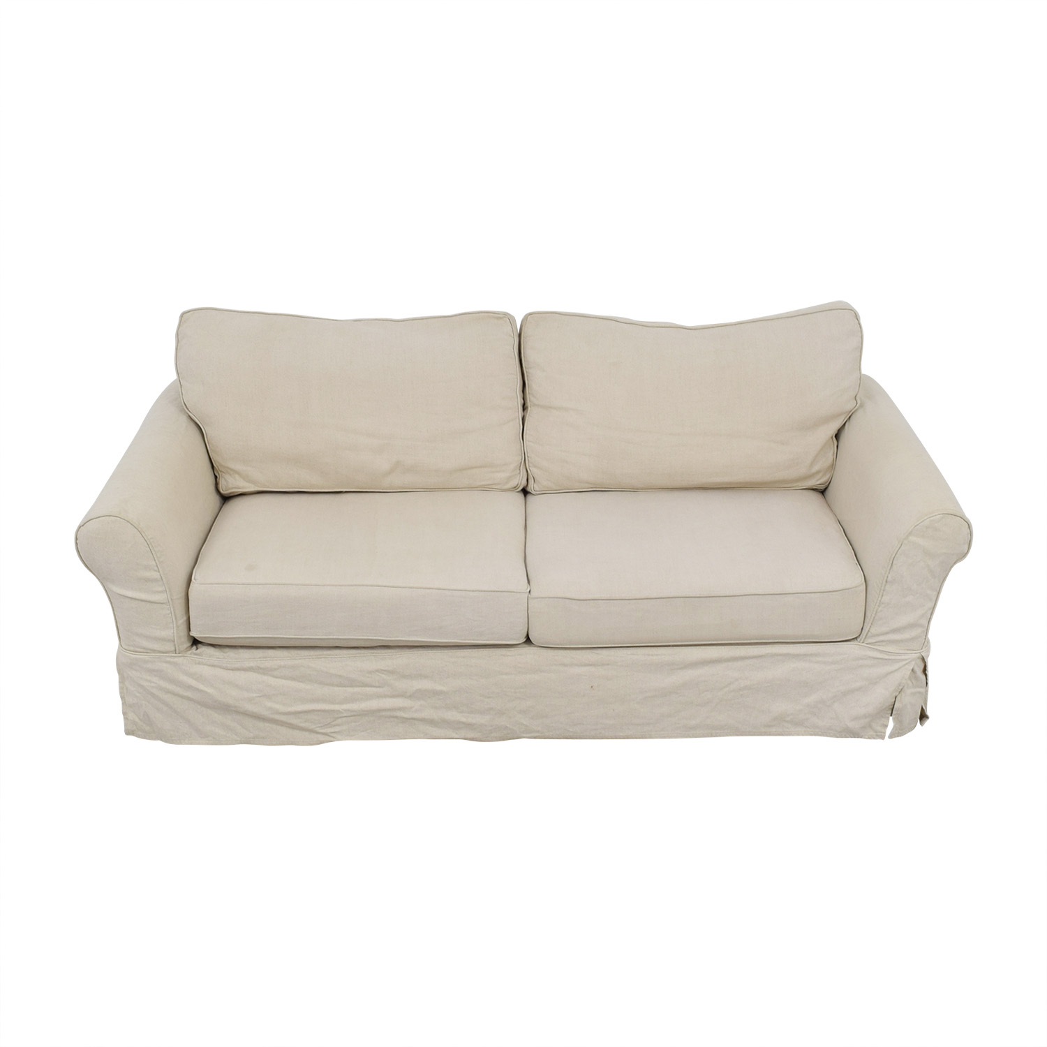 Pottery Barn Pottery Barn Cream Comfort Roll Two-Cushion Sofa price