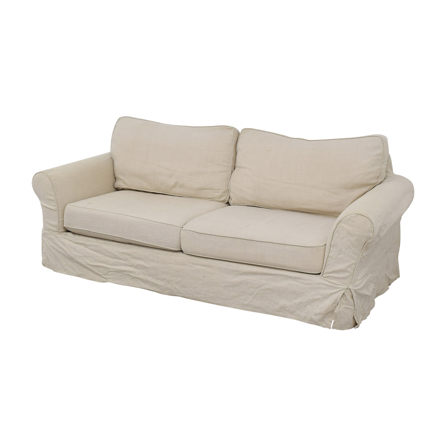 Pottery Barn Pottery Barn Cream Comfort Roll Two-Cushion Sofa second hand