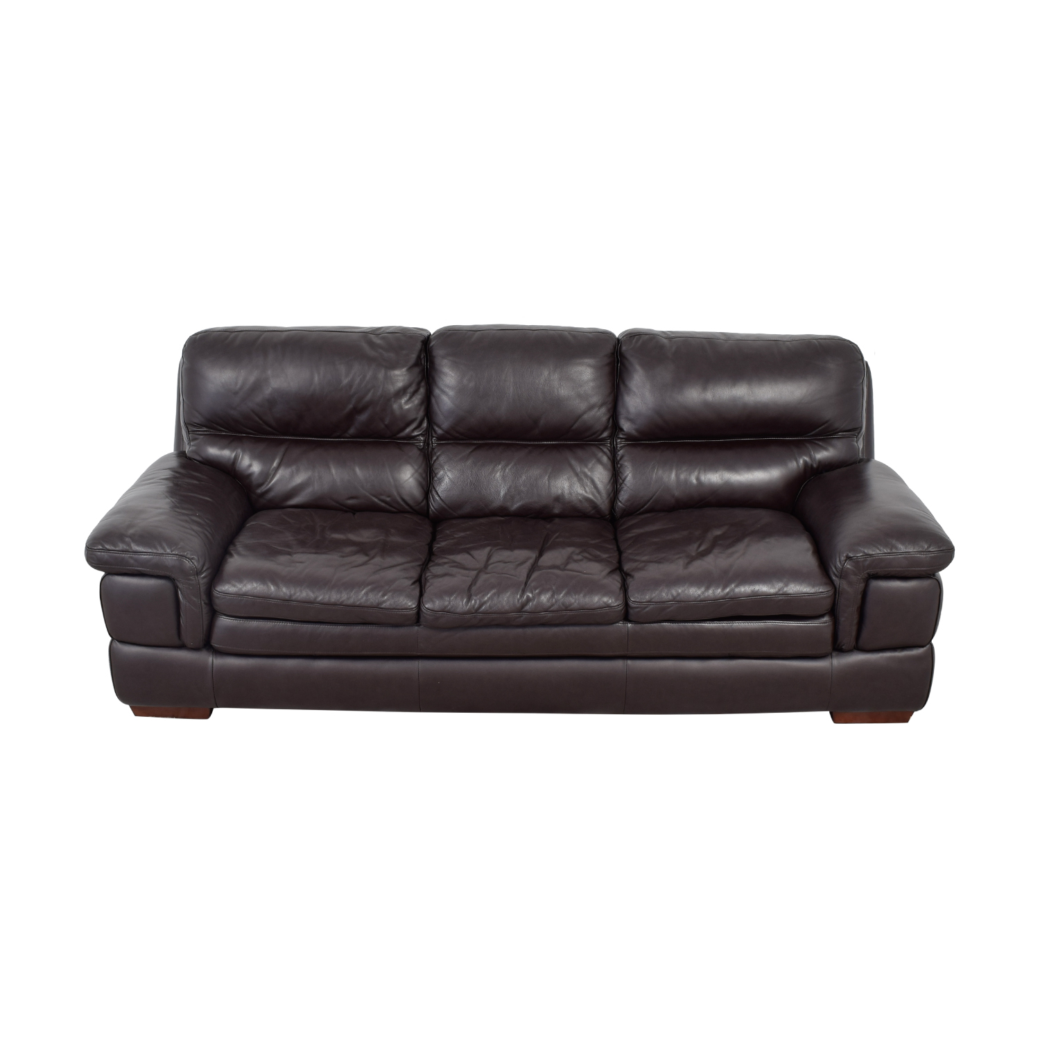 shop Bob's Furniture Carter Brown Leather Three-Cushion Sofa Bob's Furniture Sofas