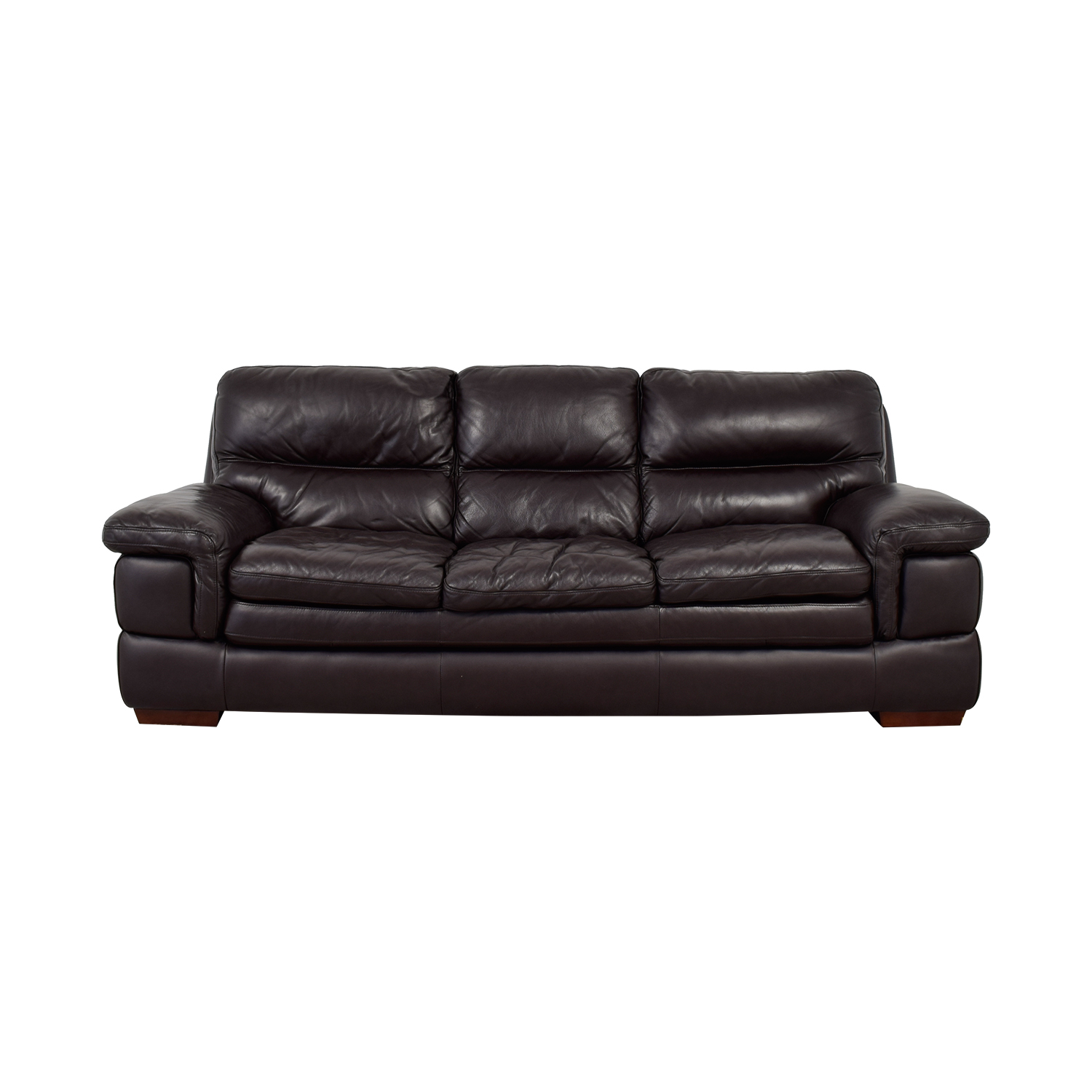 buy Bob's Furniture Carter Brown Leather Three-Cushion Sofa Bob's Furniture