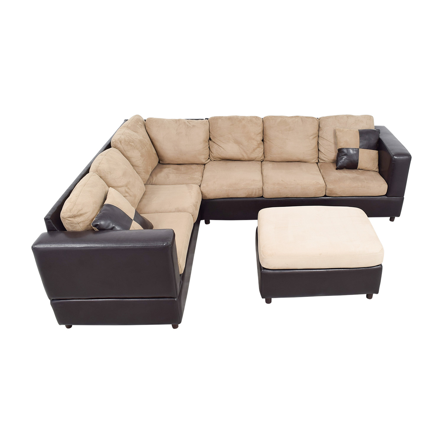Jennifer Furniture Jennifer Furniture Brown Leather and Tan Micro-Suede L Sectional with Ottoman discount