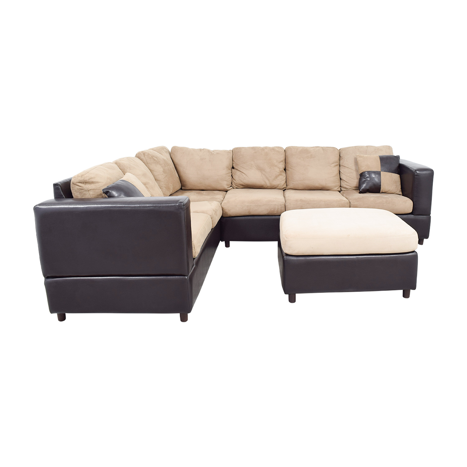 Jennifer Furniture Jennifer Furniture Brown Leather and Tan Micro-Suede L Sectional with Ottoman Sofas