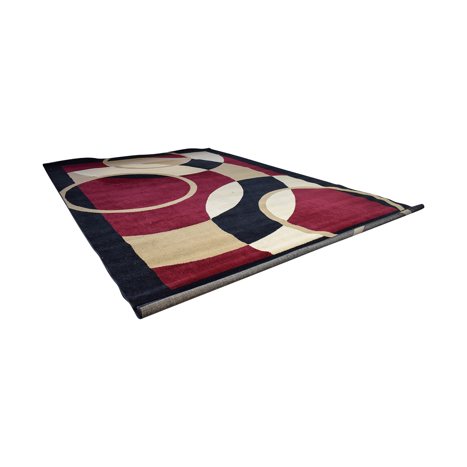 Red Beige and Black Circles Pattern Carpet for sale