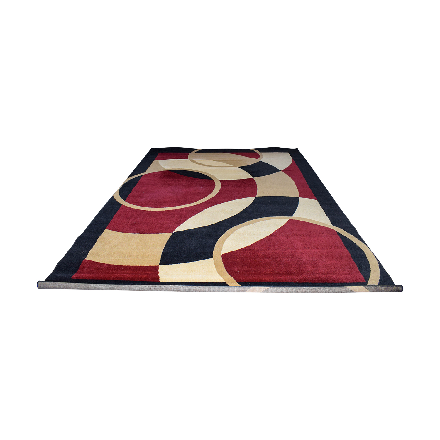 shop Red Beige and Black Circles Pattern Carpet  Rugs