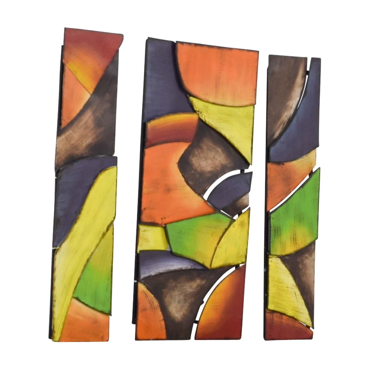 Triptych Bright Colored Shaped Artwork nj