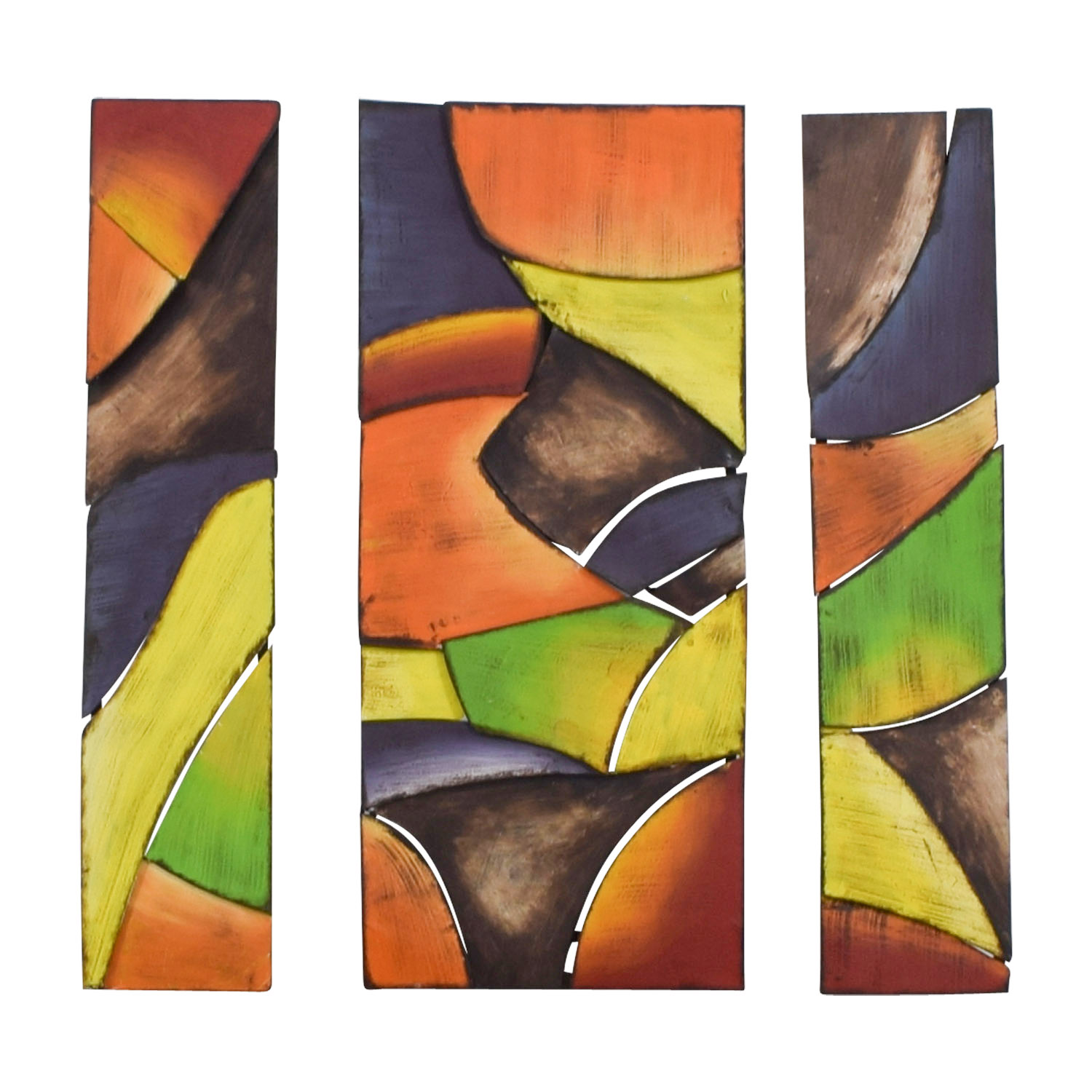 Triptych Bright Colored Shaped Artwork / Wall Art