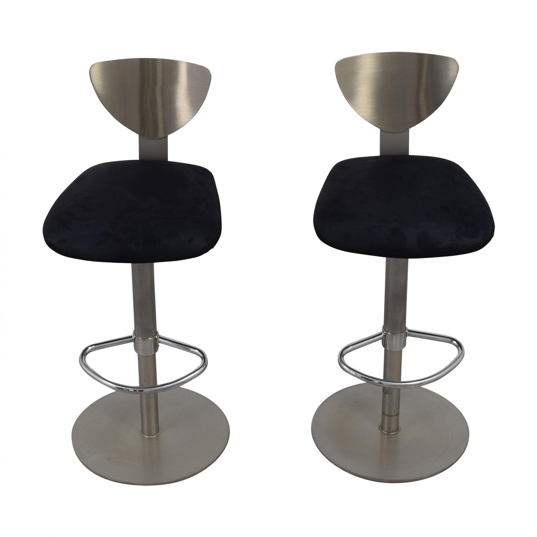 buy Ligne Roset Brushed Metal with Black Suede Bar Stools Ligne Roset Chairs