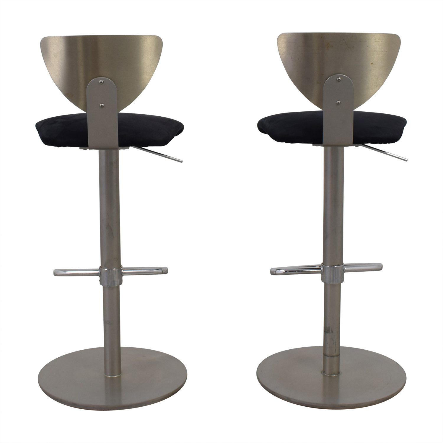 buy Ligne Roset Brushed Metal with Black Suede Bar Stools Ligne Roset