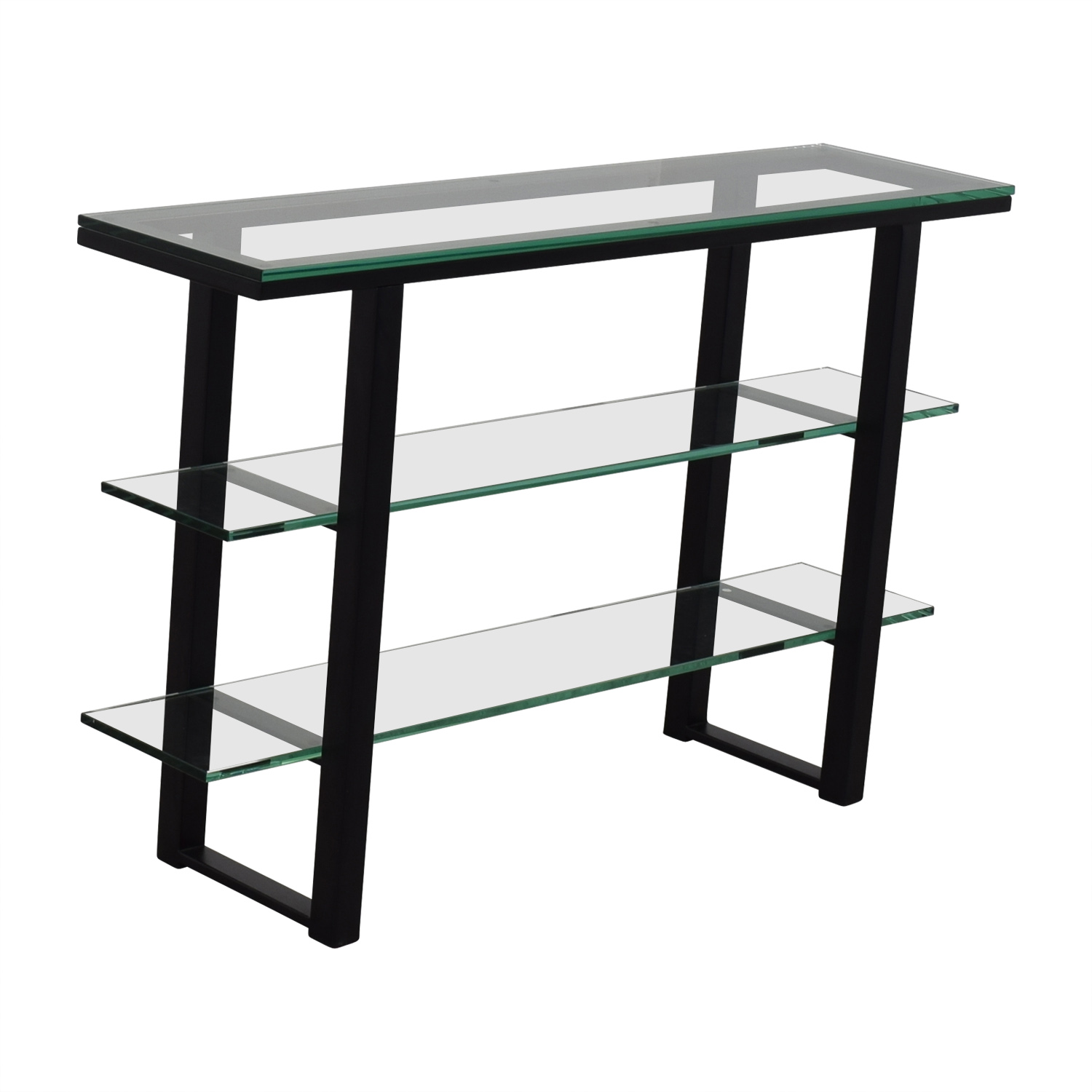 90 Off Glass And Black Foyer Table Tables