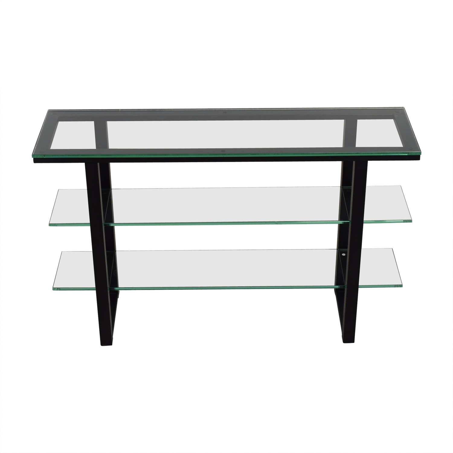 Glass and Black Foyer Table price