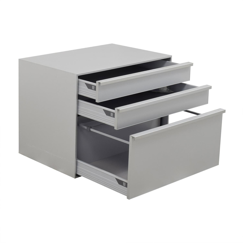 MDF Italia Three-Drawer Grey File Cabinet / Storage