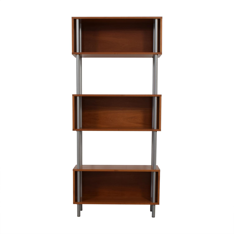Modern Three-Tiered Bookshelf Dark Brown