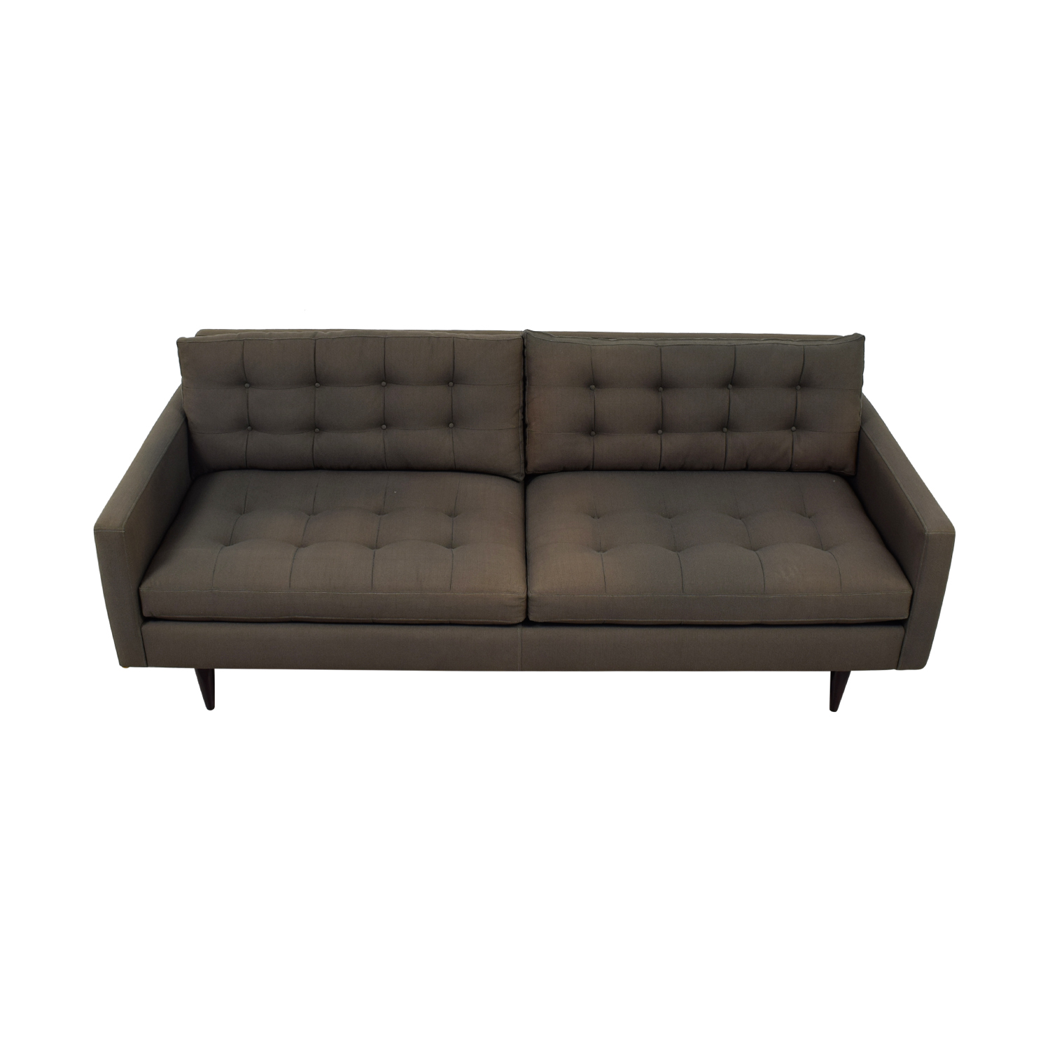 Crate & Barrel Petrie Grey Tufted Two-Cushion Sofa sale