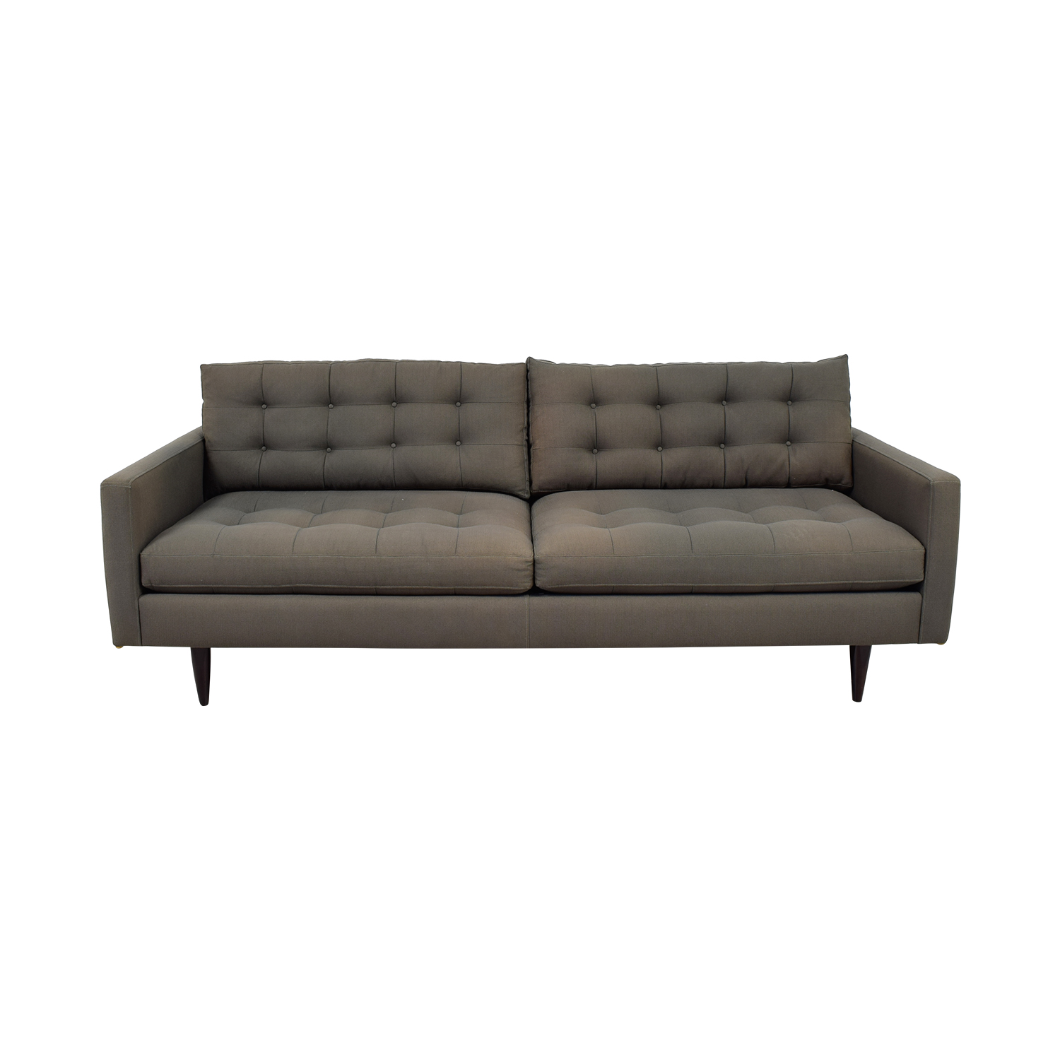 Crate & Barrel Crate & Barrel Petrie Grey Tufted Two-Cushion Sofa