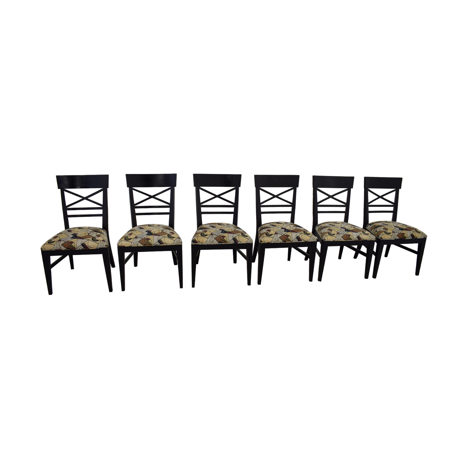 Ethan Allan Ethan Allan Geometric Upholstered Dining Chairs discount