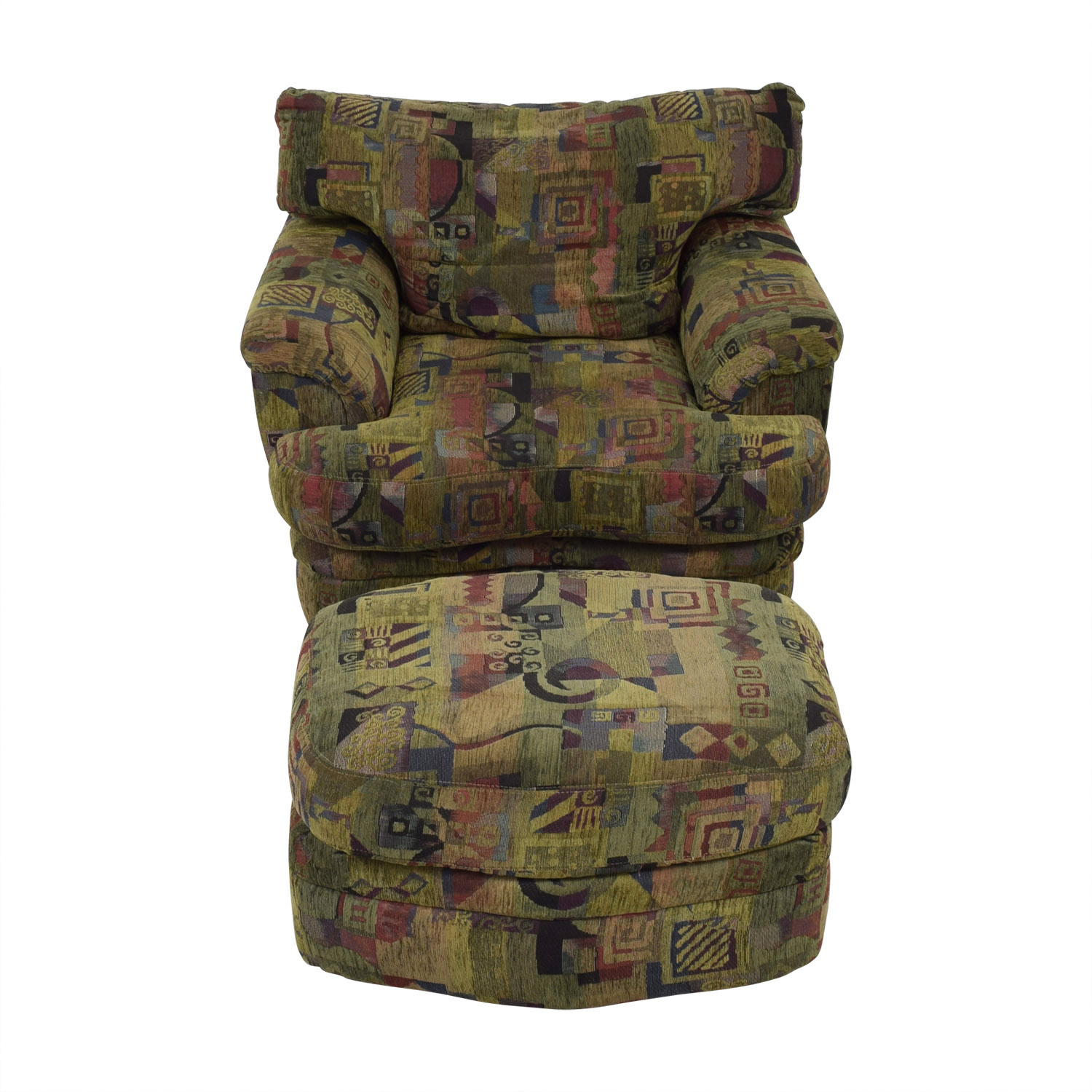buy Raymour & Flanigan Raymour & Flanigan Multi-Colored Accent Chair with Ottoman online