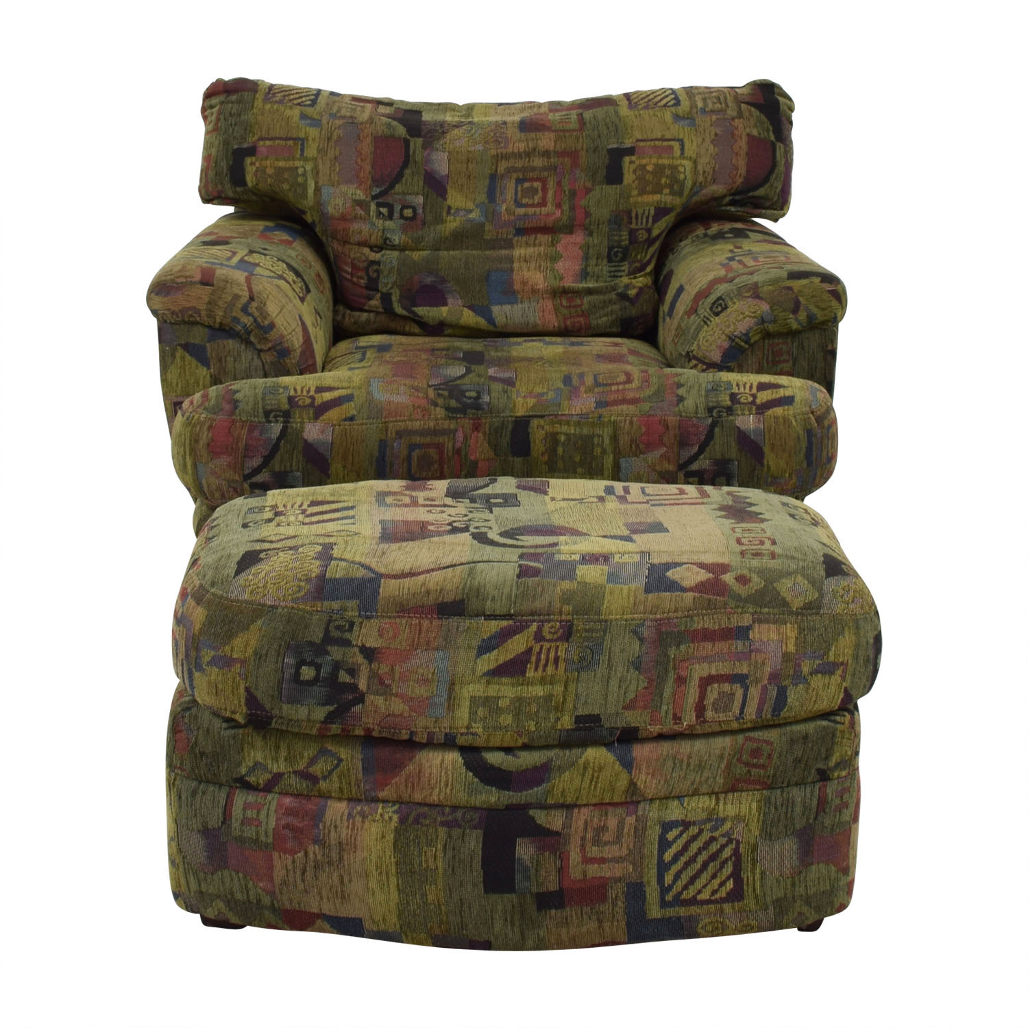 Raymour & Flanigan Raymour & Flanigan Multi-Colored Accent Chair with Ottoman nyc