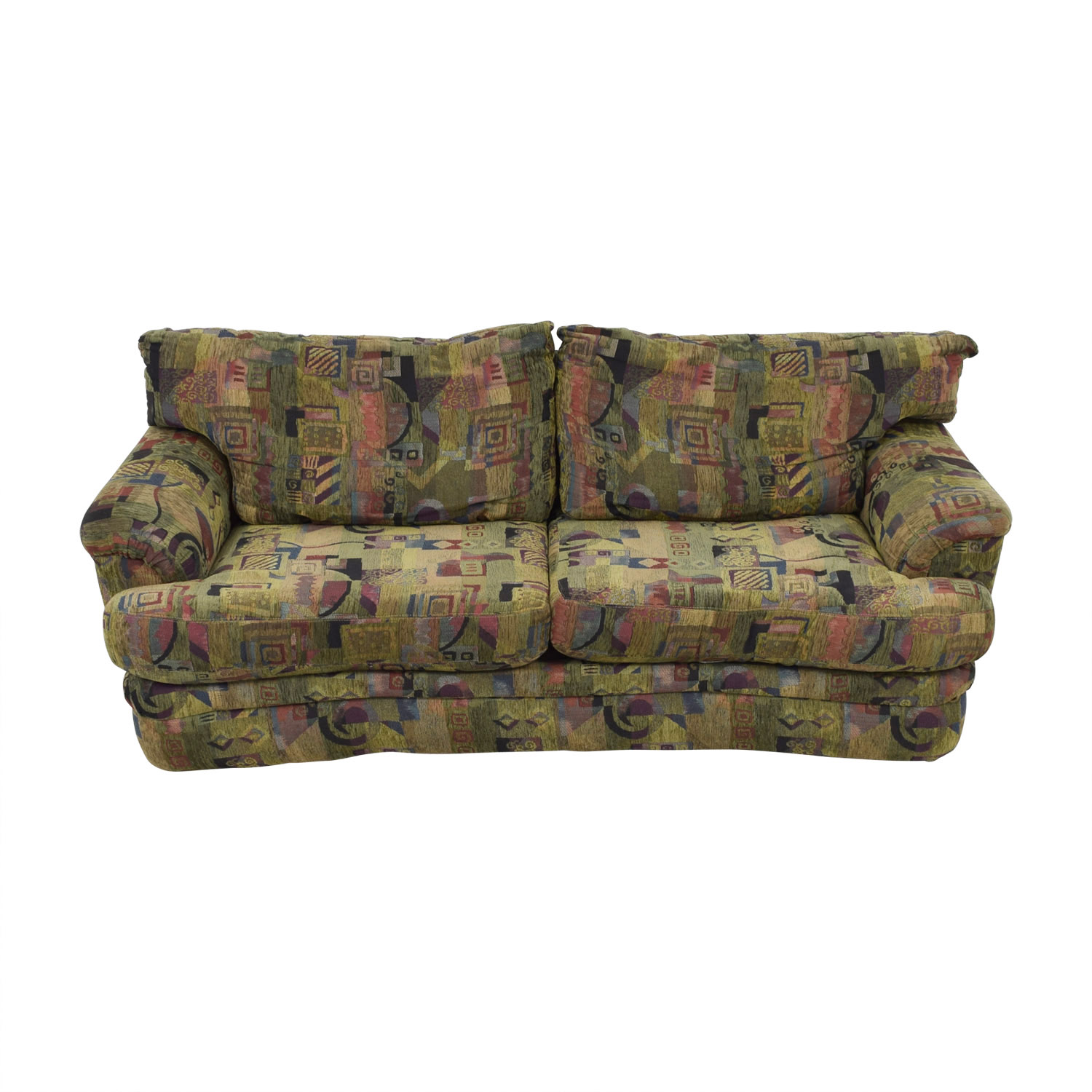 Raymour & Flanigan Raymour & Flanigan Multi-Colored Two-Cushion Sofa nyc