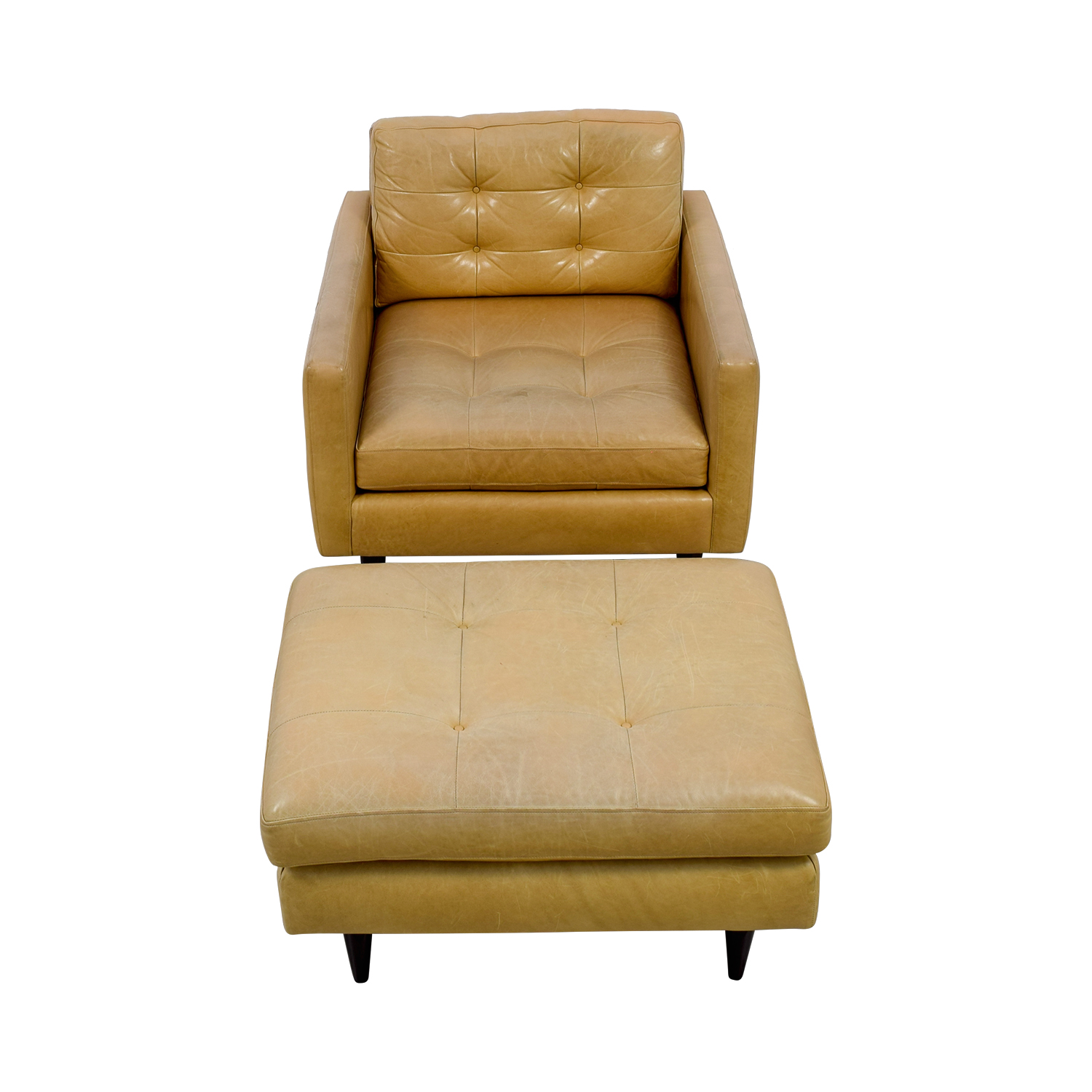 buy Crate & Barrel Beige Tufted Leather Accent Chair and Ottoman Crate & Barrel Accent Chairs