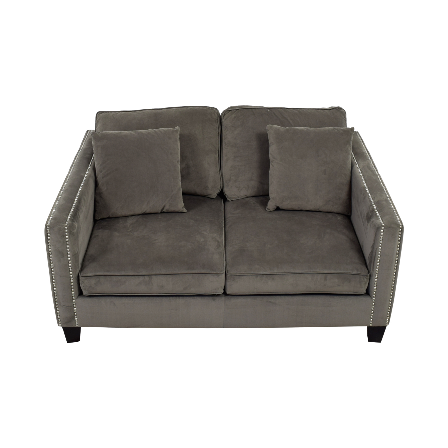 Gray Micro Suede Two Cushion Loveseat Used