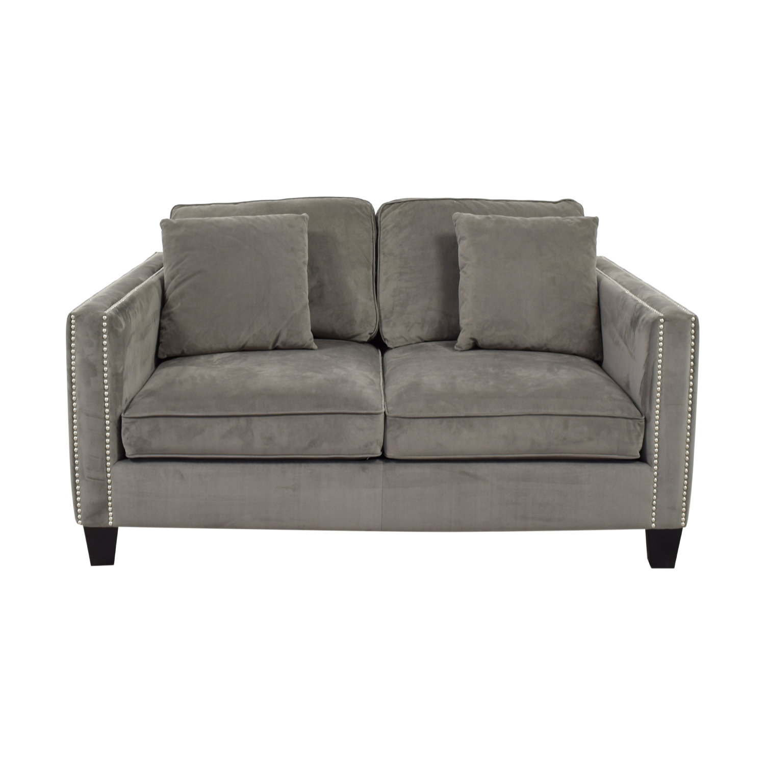 Gray Micro Suede Two-Cushion Loveseat