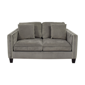 shop Gray Micro Suede Two-Cushion Loveseat