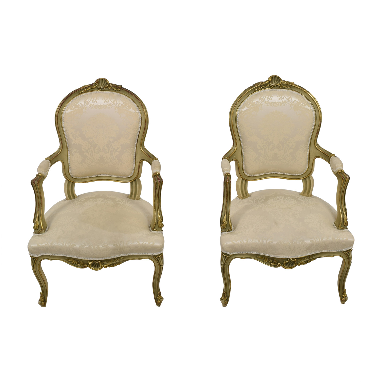 shop Antique White Jacquard Upholstered Gold Arm Chairs  Accent Chairs