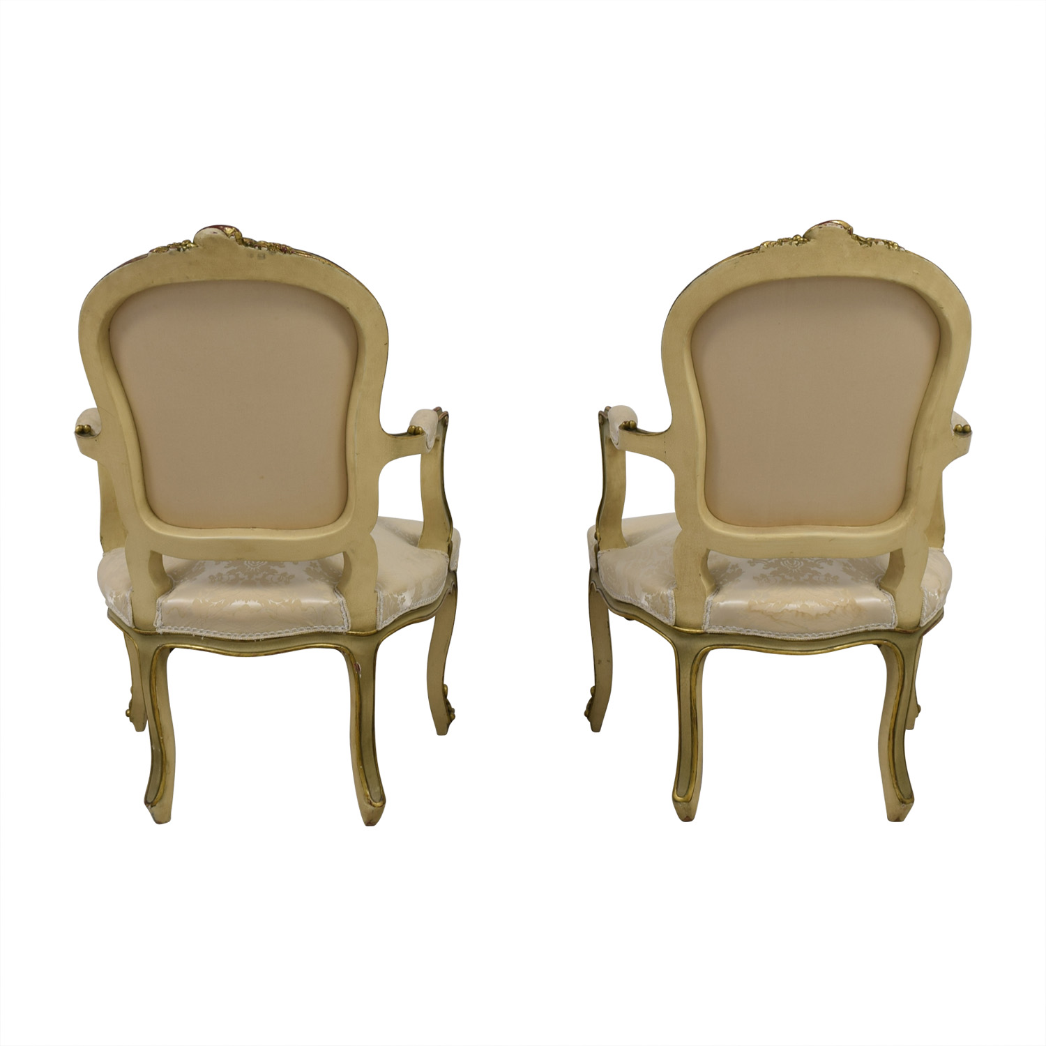 Antique White Jacquard Upholstered Gold Arm Chairs for sale