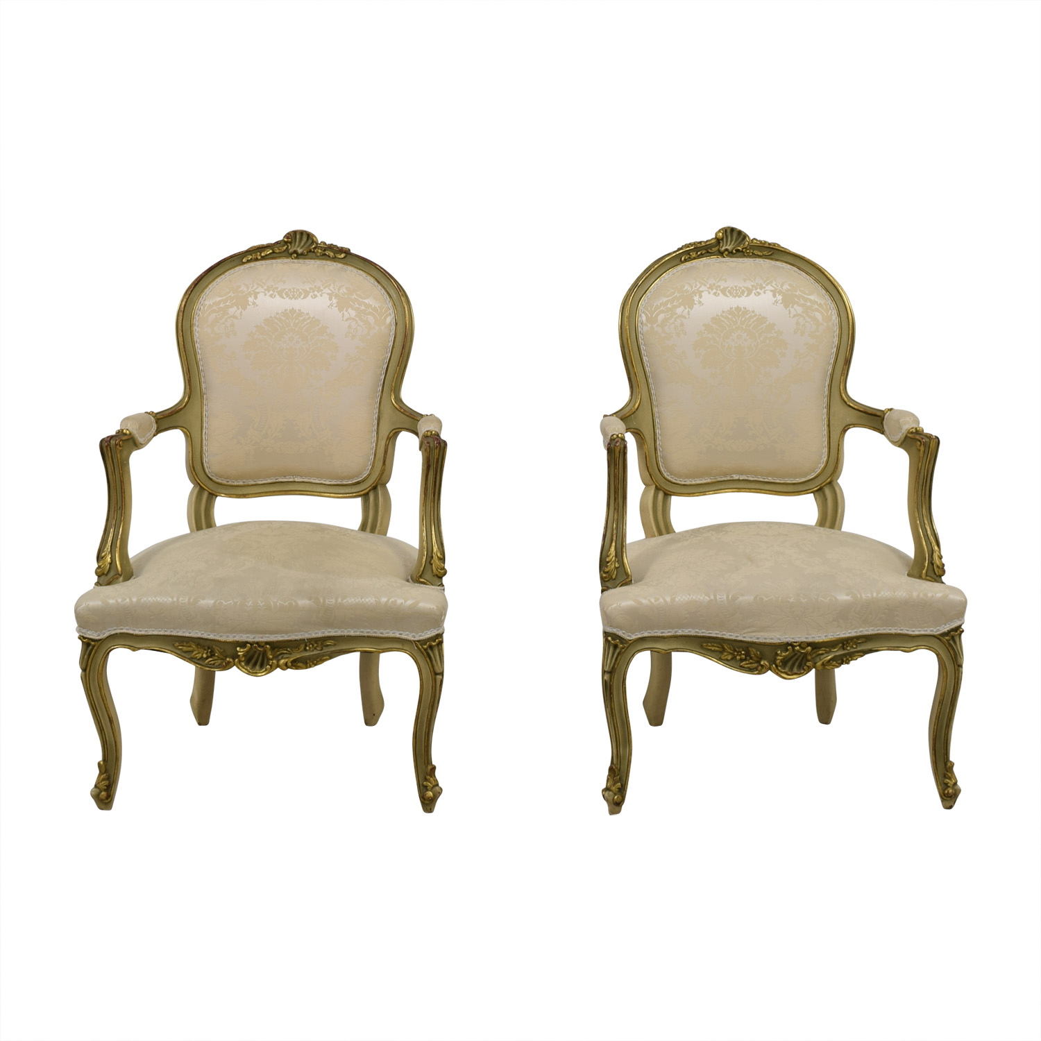 buy Antique White Jacquard Upholstered Gold Arm Chairs