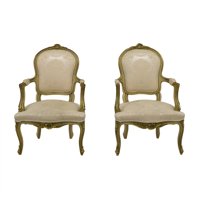 Antique White Jacquard Upholstered Gold Arm Chairs discount