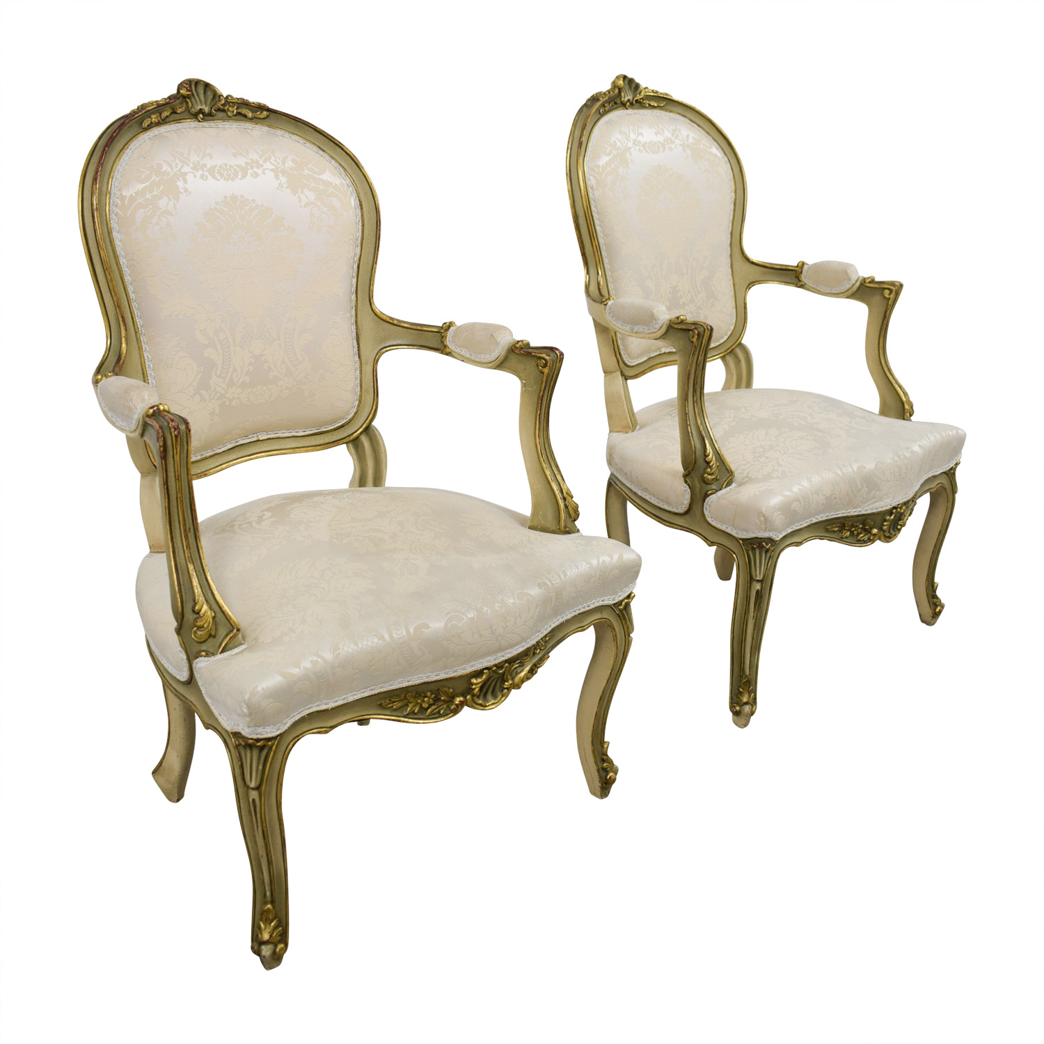 Antique White Jacquard Upholstered Gold Arm Chairs / Accent Chairs