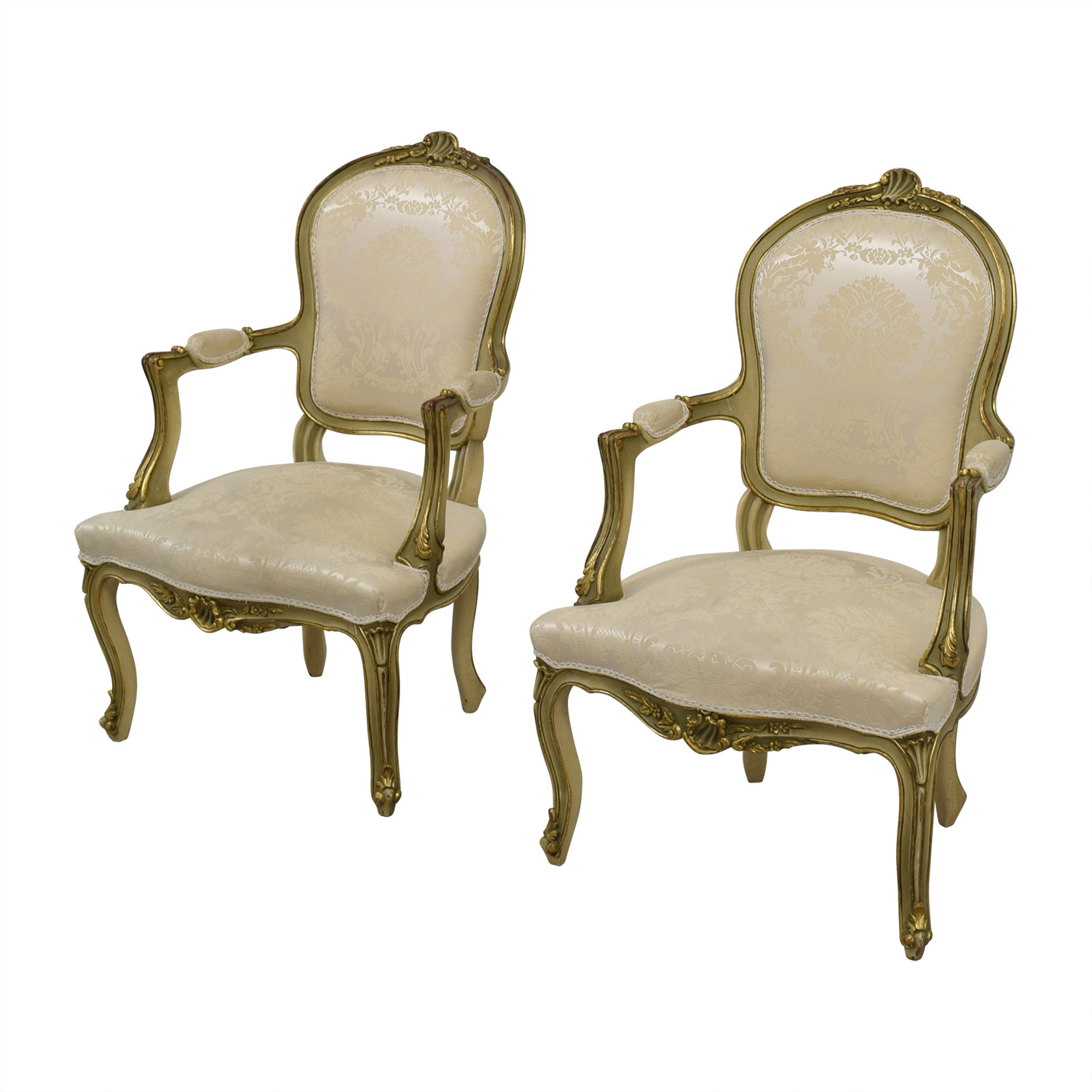 Antique White Jacquard Upholstered Gold Arm Chairs