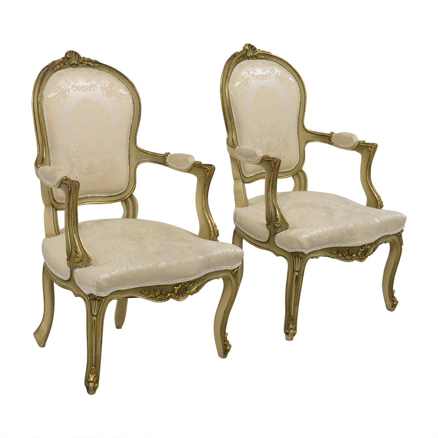 Antique White Jacquard Upholstered Gold Arm Chairs nj