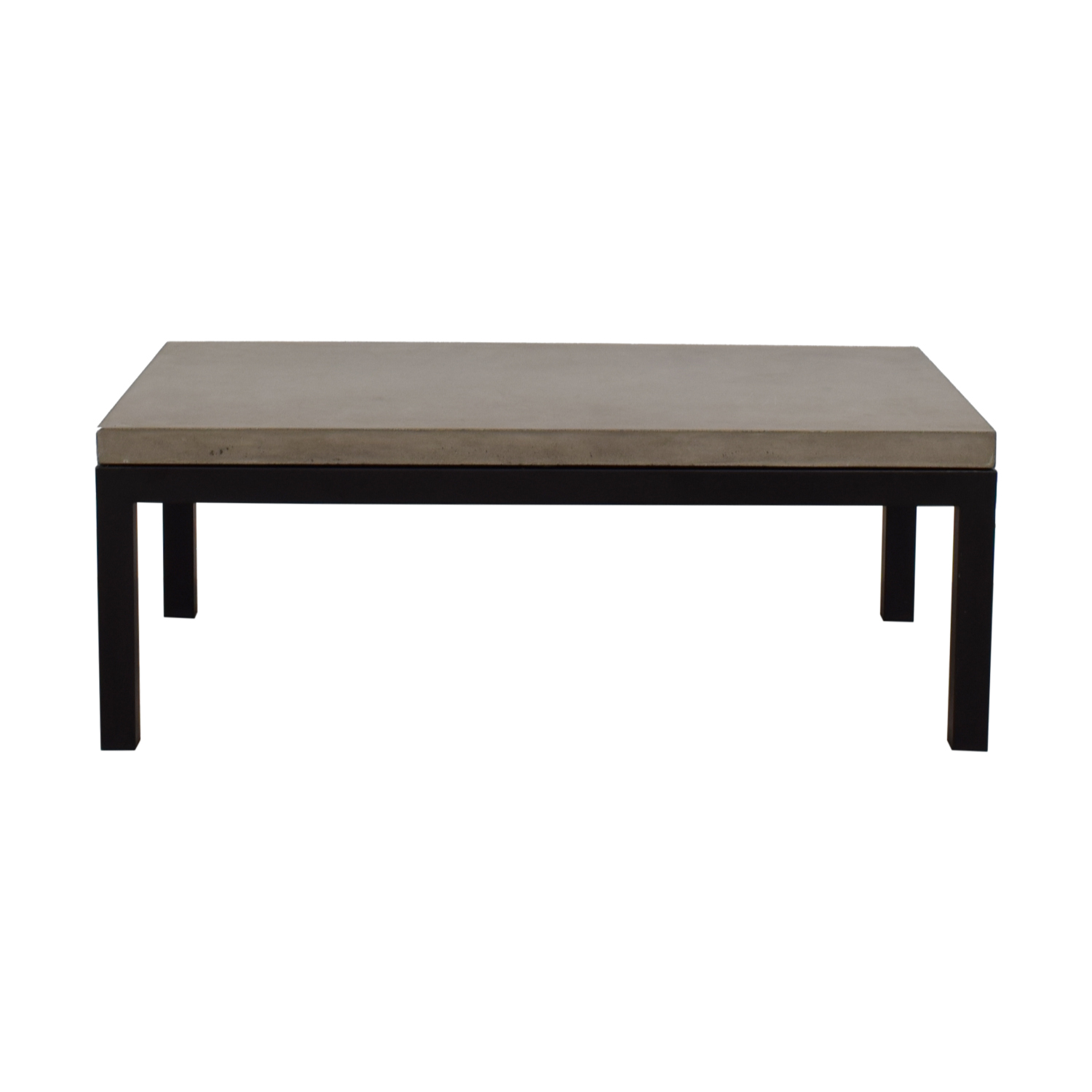 Crate & Barrel Crate & Barrel Parsons Concrete Top Dark Steel Base Small Rectangular Coffee Table nyc