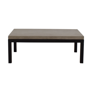 Crate & Barrel Crate & Barrel Parsons Concrete Top Dark Steel Base Small Rectangular Coffee Table