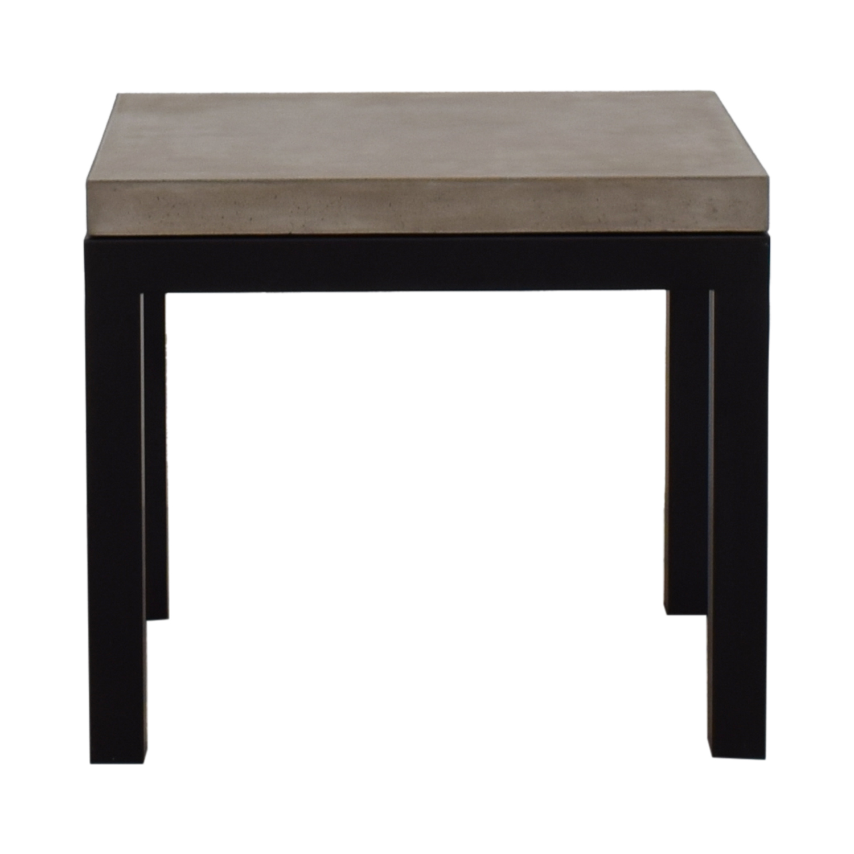 Crate & Barrel Parsons Concrete Top Dark Steel Base End Table Crate & Barrel