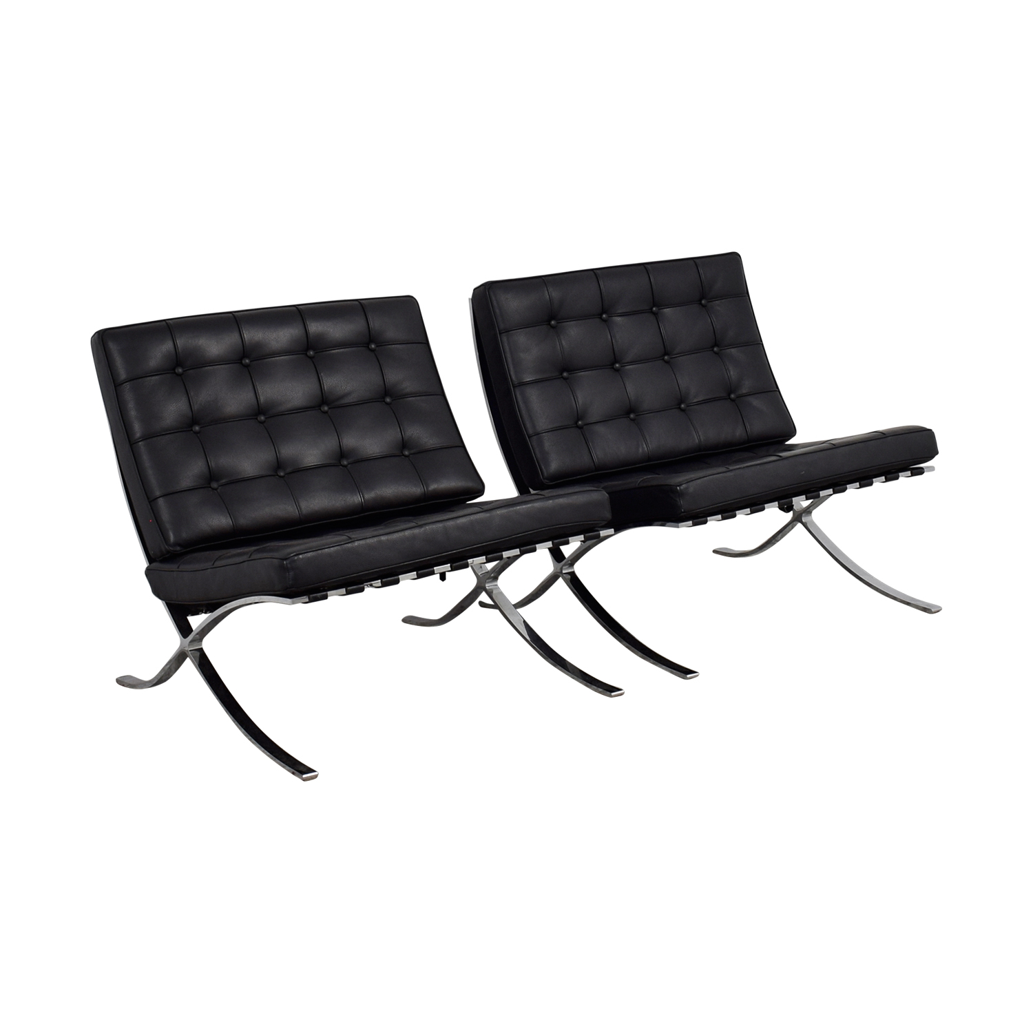 Black and Chrome Tufted Barcelona Style Accent Chairs used