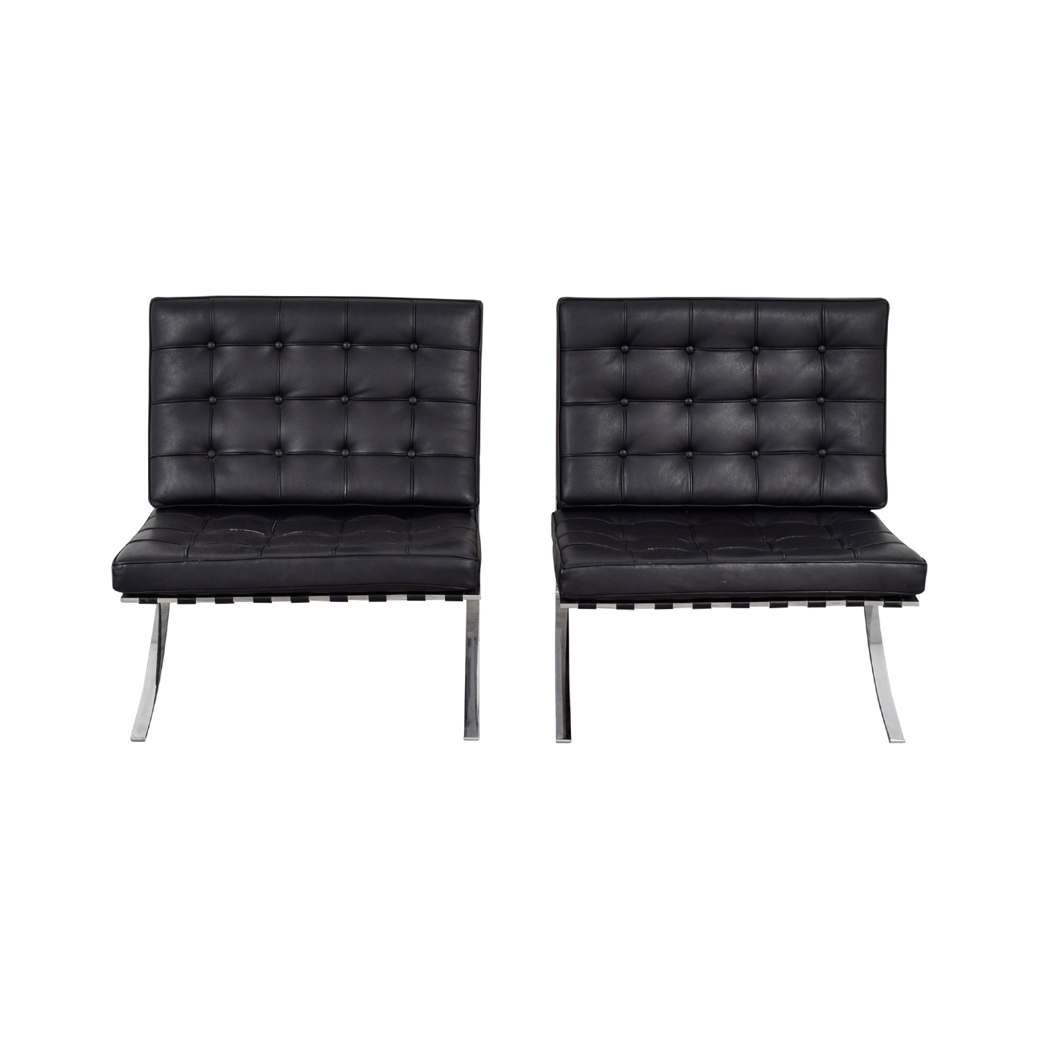 Black and Chrome Tufted Barcelona Style Accent Chairs coupon