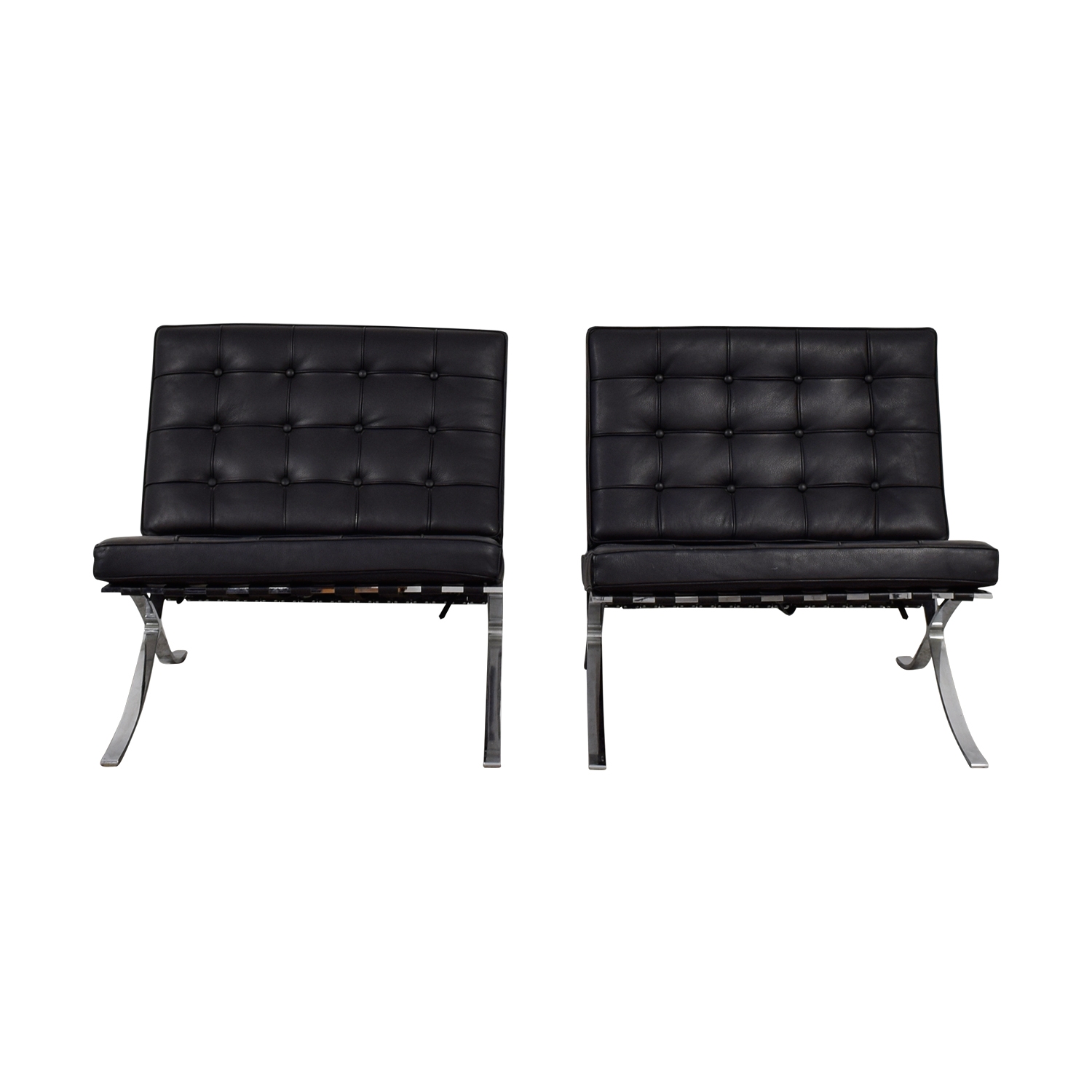Black and Chrome Tufted Barcelona Style Accent Chairs sale