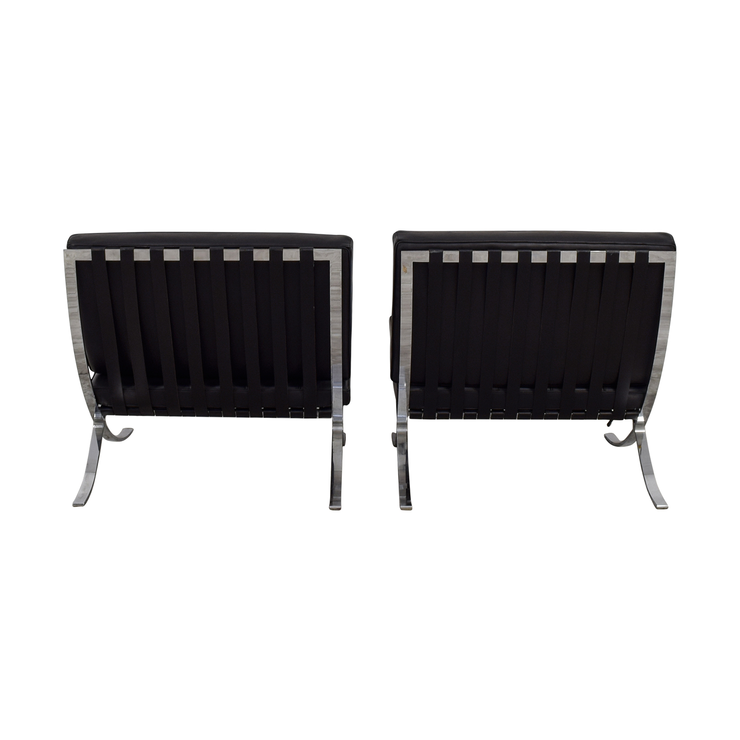 Black and Chrome Tufted Barcelona Style Accent Chairs