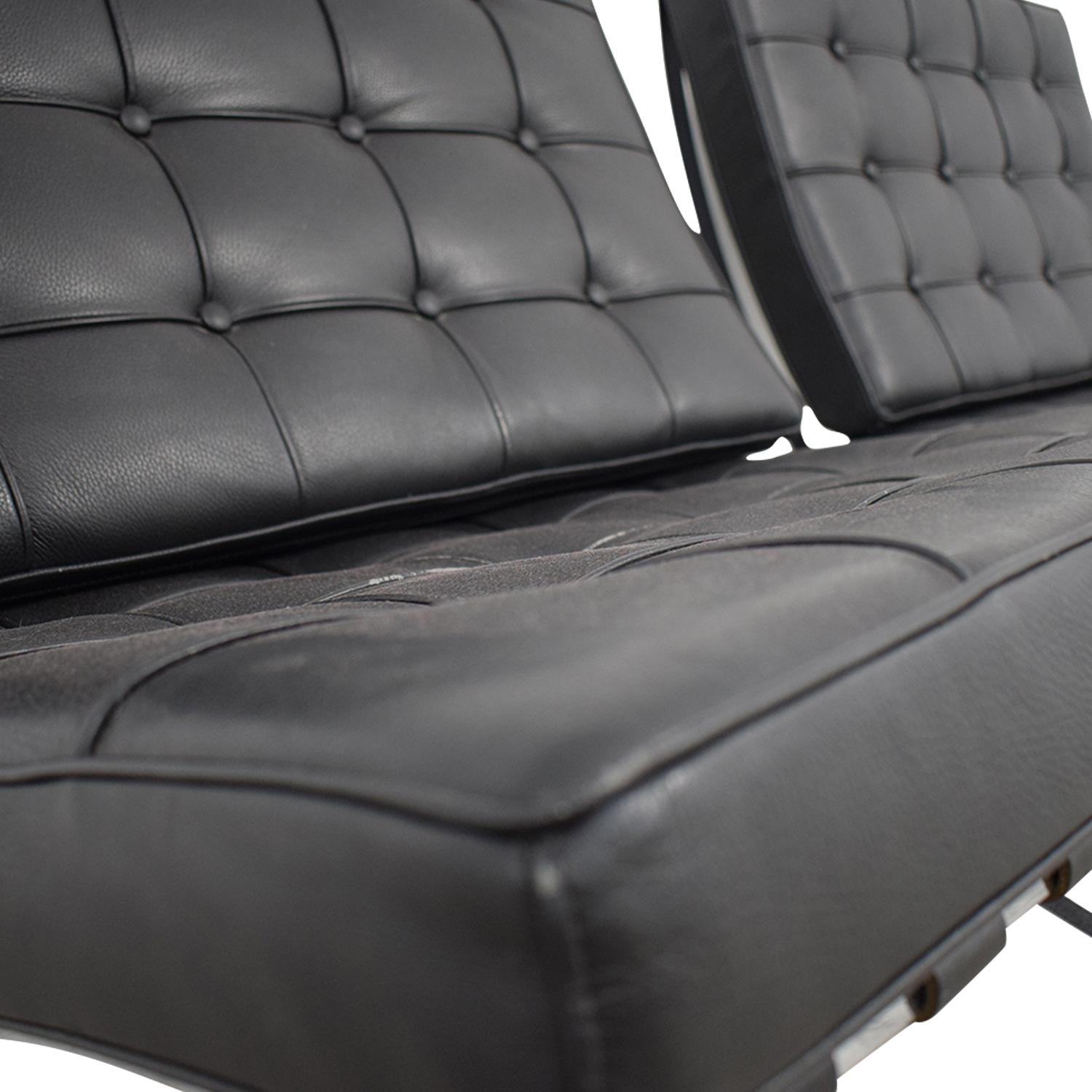 Black and Chrome Tufted Barcelona Style Accent Chairs for sale