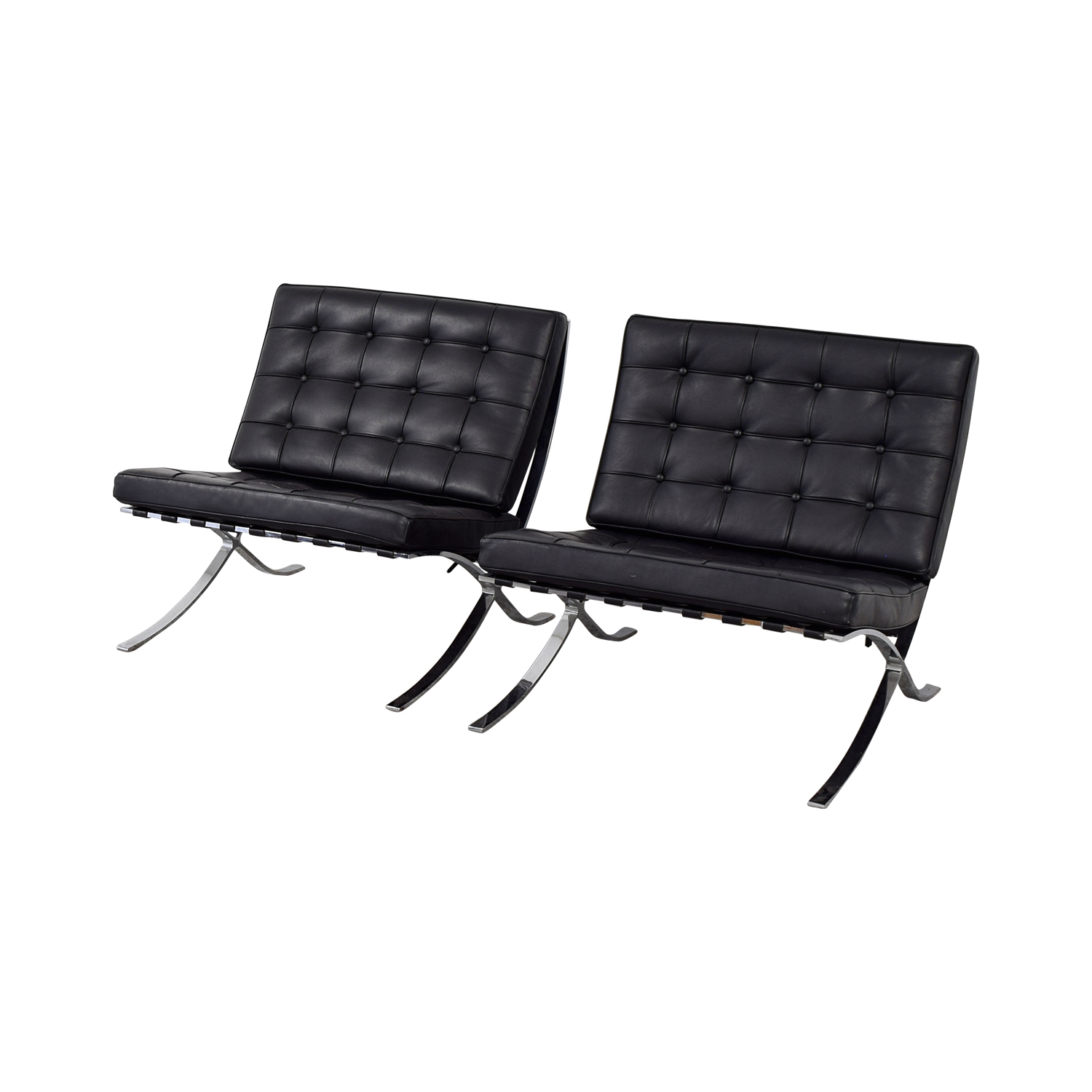 shop Black and Chrome Tufted Barcelona Style Accent Chairs