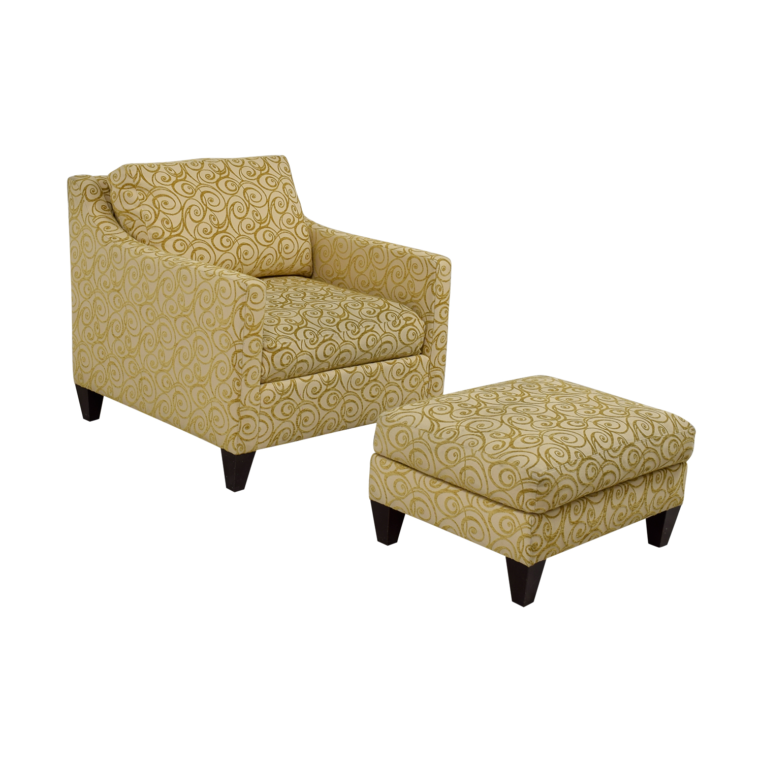 Ethan Allen Ethan Allen Beige and Gold Monterey Chair and Ottoman discount