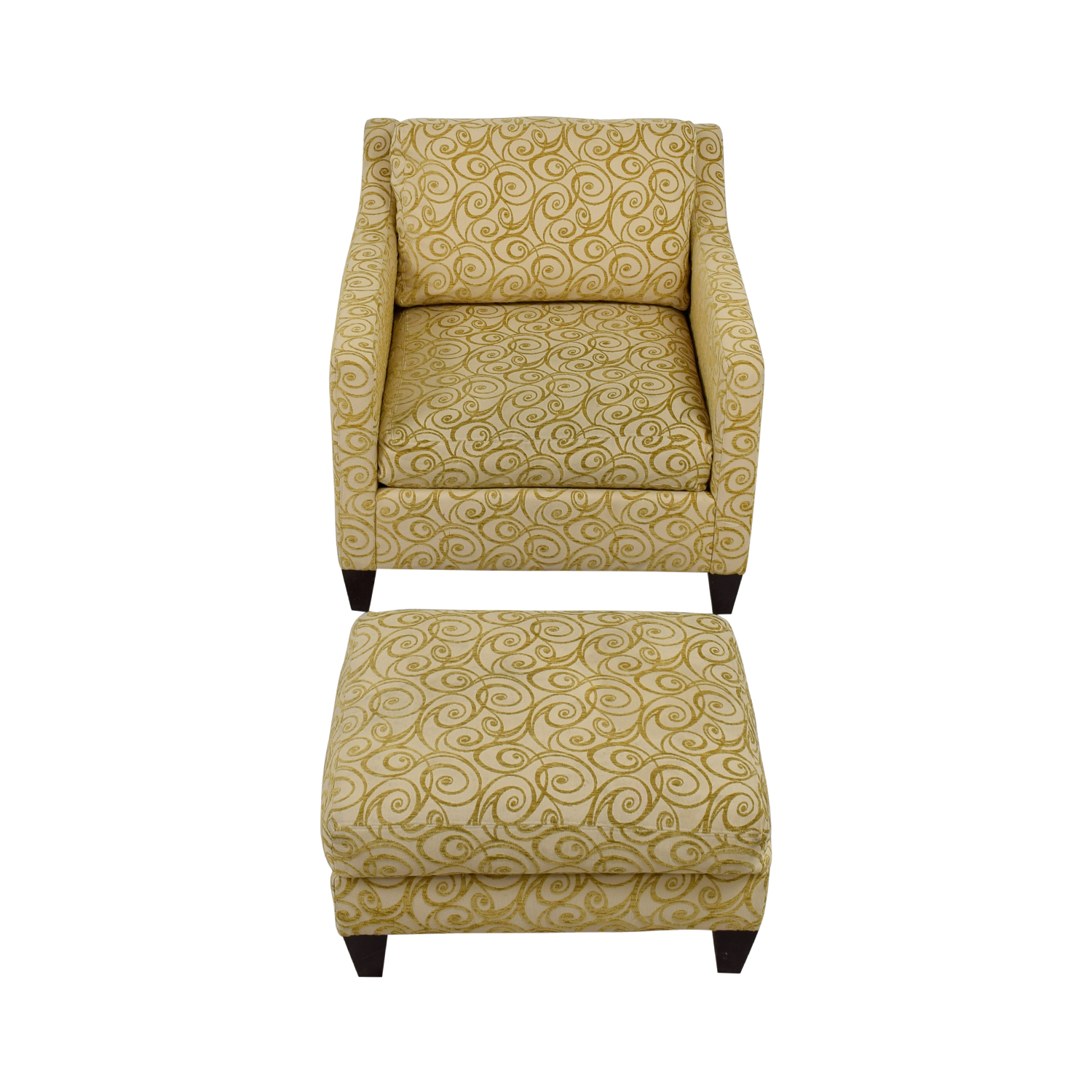 Ethan Allen Ethan Allen Beige and Gold Monterey Chair and Ottoman Accent Chairs