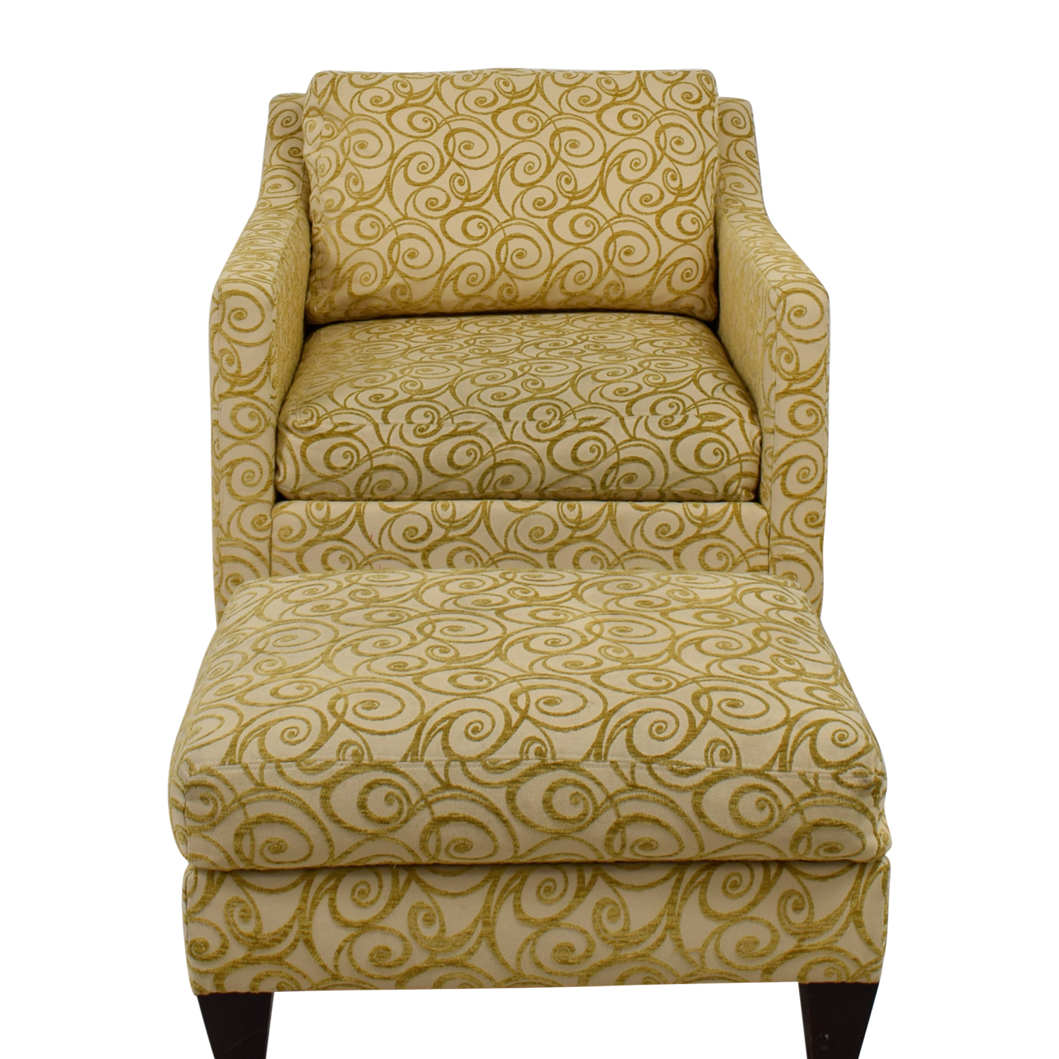 Ethan Allen Ethan Allen Beige and Gold Monterey Chair and Ottoman on sale