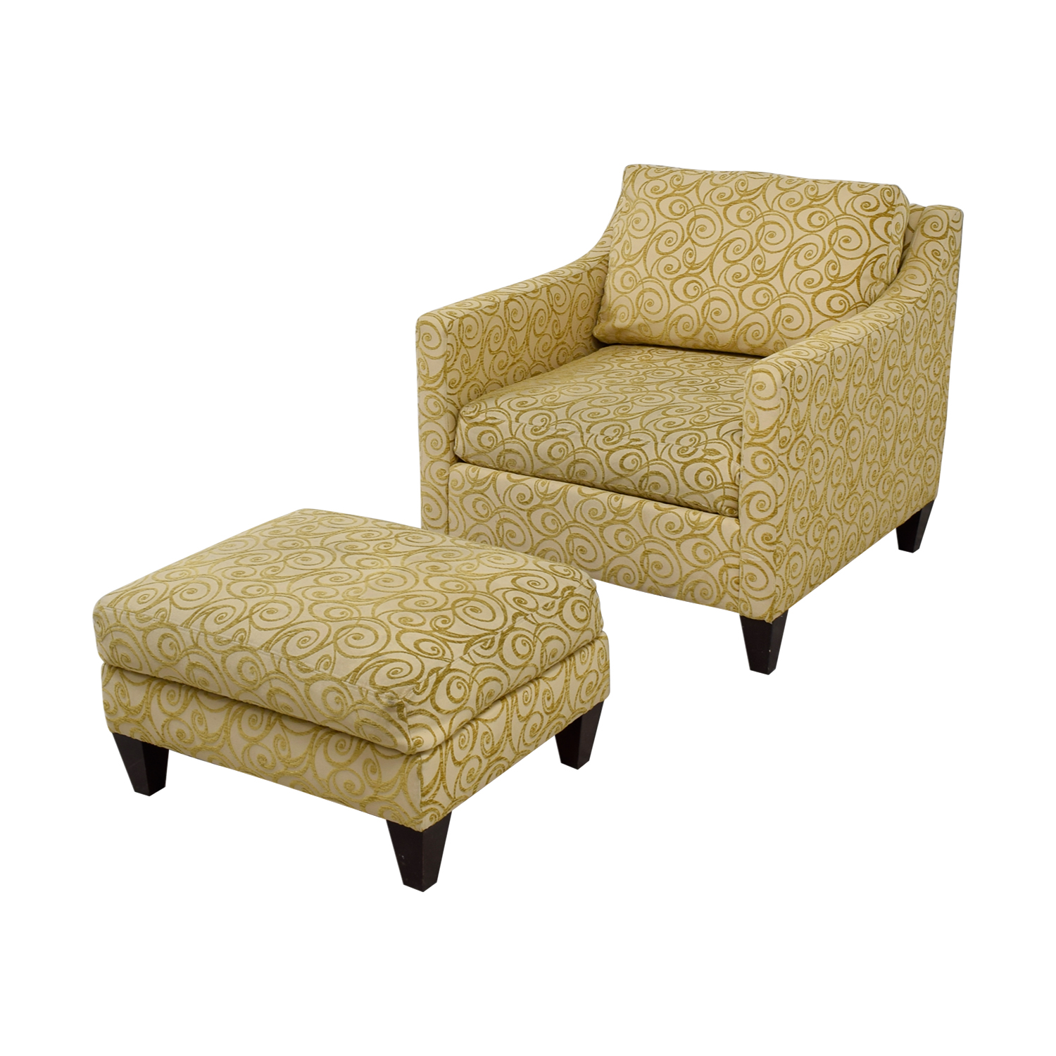 shop Ethan Allen Ethan Allen Beige and Gold Monterey Chair and Ottoman online