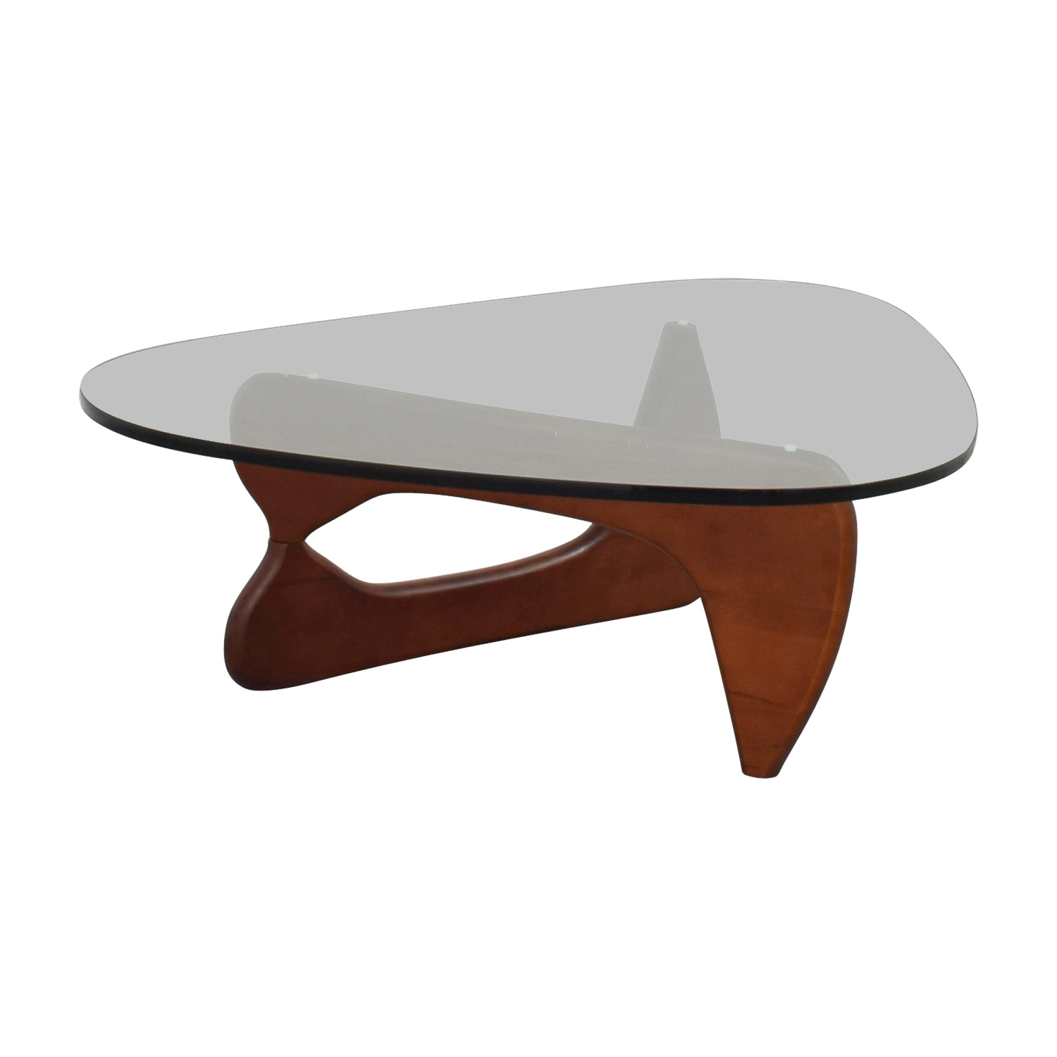 Modway Modway Isamu Noguchi-inspired Triangle Glass Coffee Table with Cherry Wood for sale